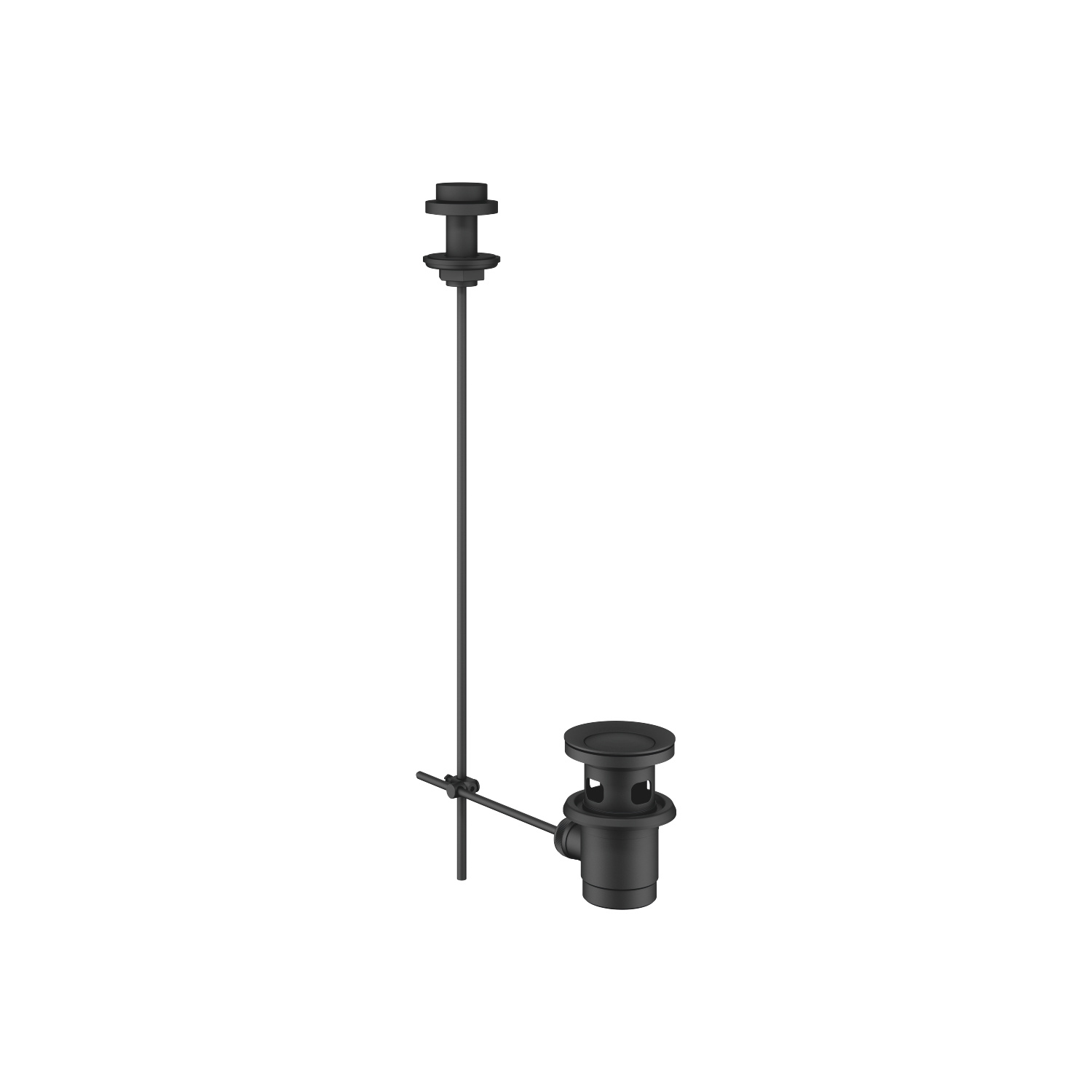 "Basin Waste with knob for deck mounting 1 1/4"" - matt black"