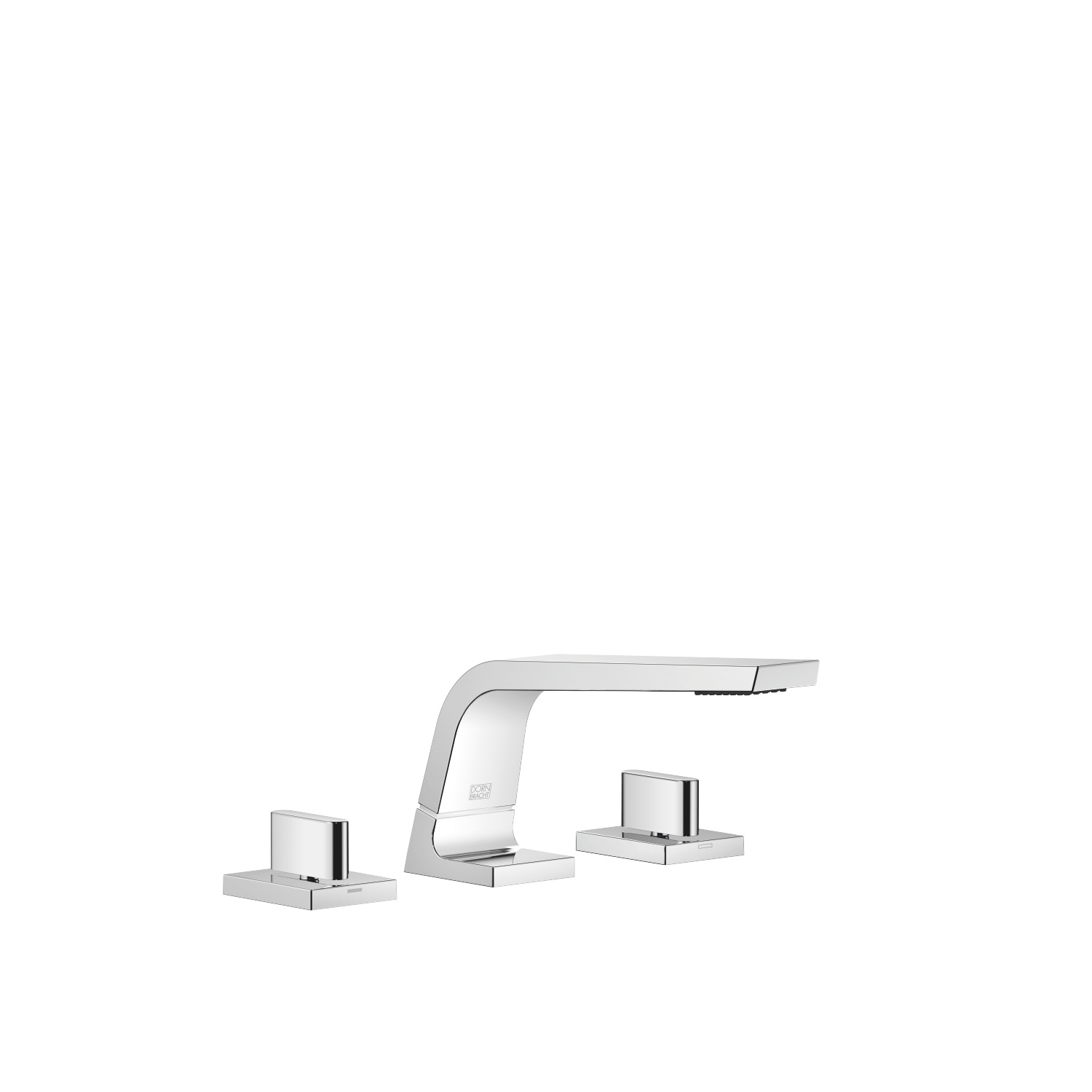 Three-hole basin mixer without pop-up waste - polished chrome