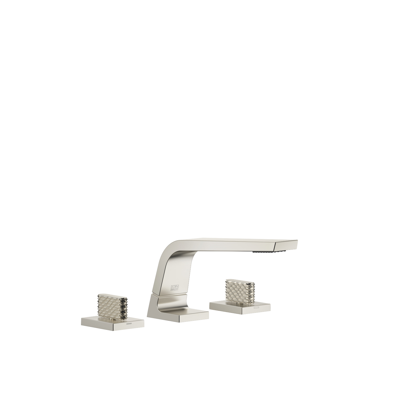 Three-hole basin mixer without pop-up waste - platinum matt