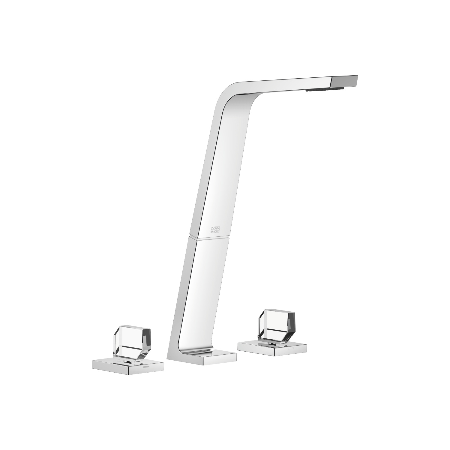Three-hole lavatory mixer without drain - polished chrome
