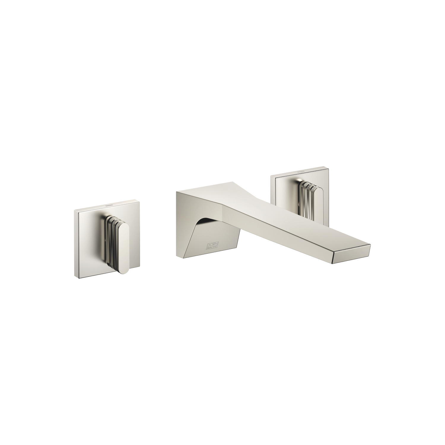 Wall-mounted three-hole lavatory mixer without drain - platinum matte