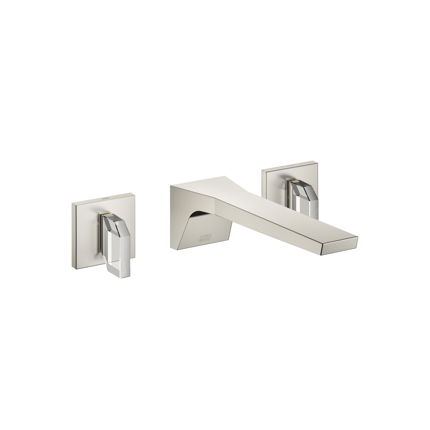 Wall-mounted basin mixer without pop-up waste - platinum matt