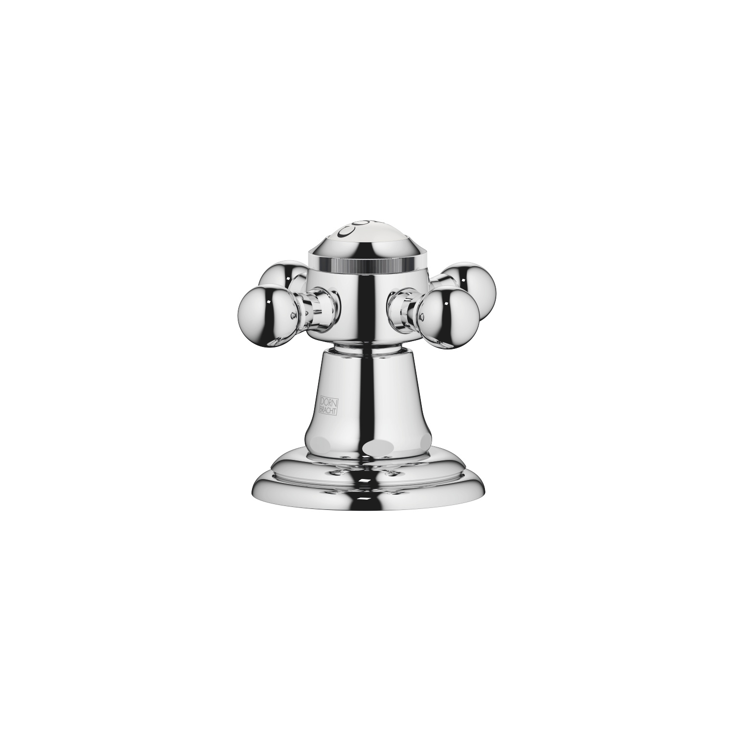 Deck valve clockwise-closing hot or cold - polished chrome