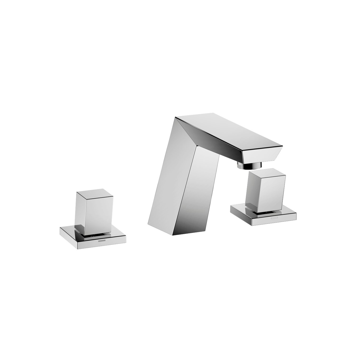 Three-hole basin mixer with pop-up waste - polished chrome