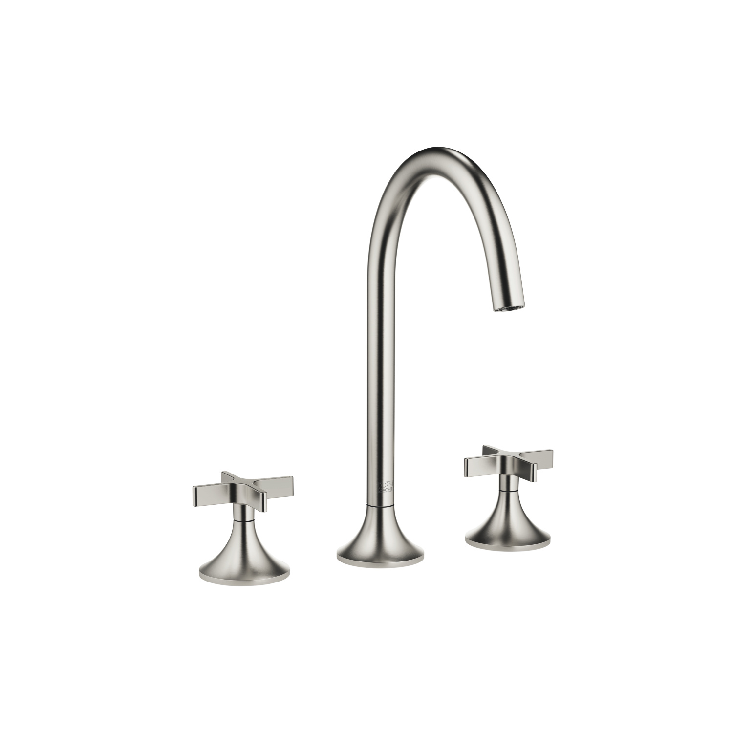 Three-hole lavatory mixer with drain - platinum matte
