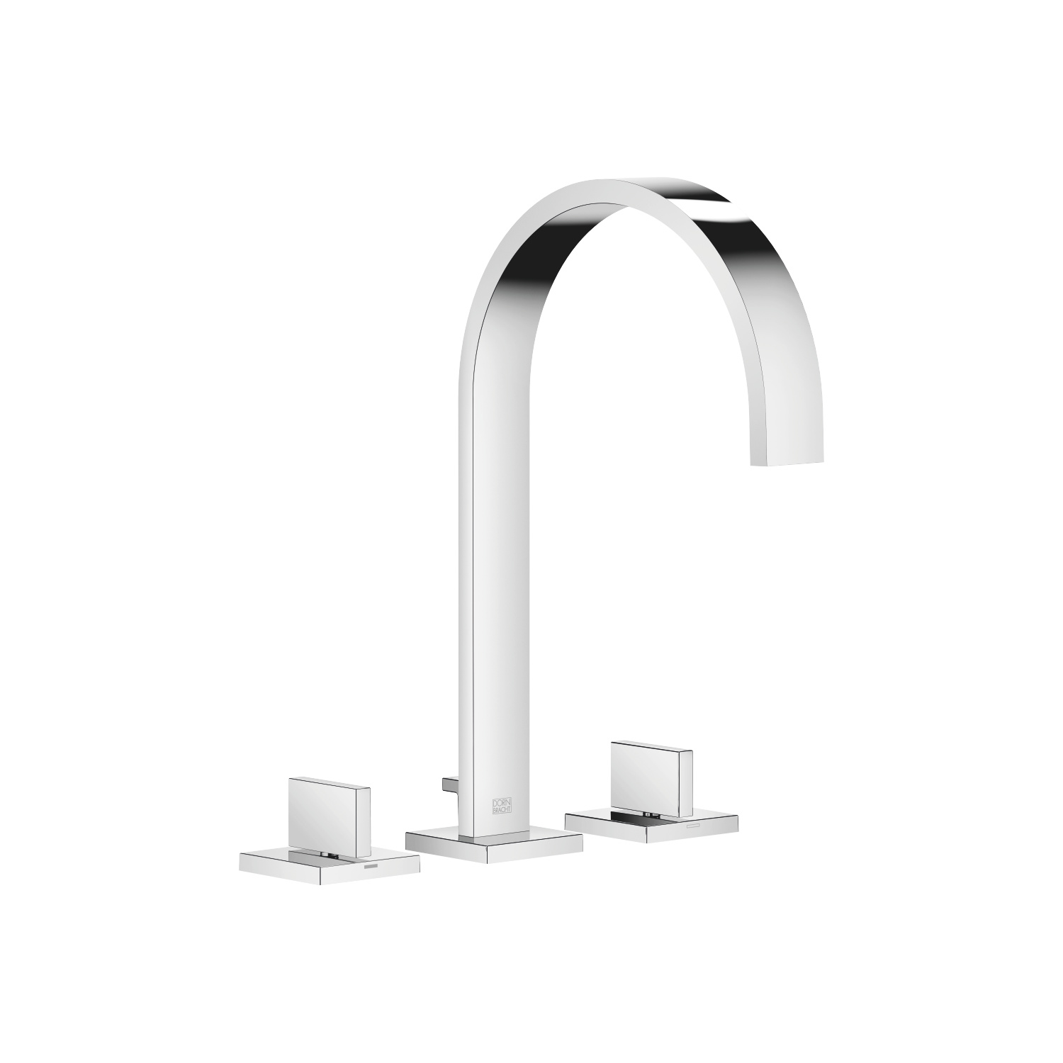 Three-hole lavatory mixer with drain - polished chrome