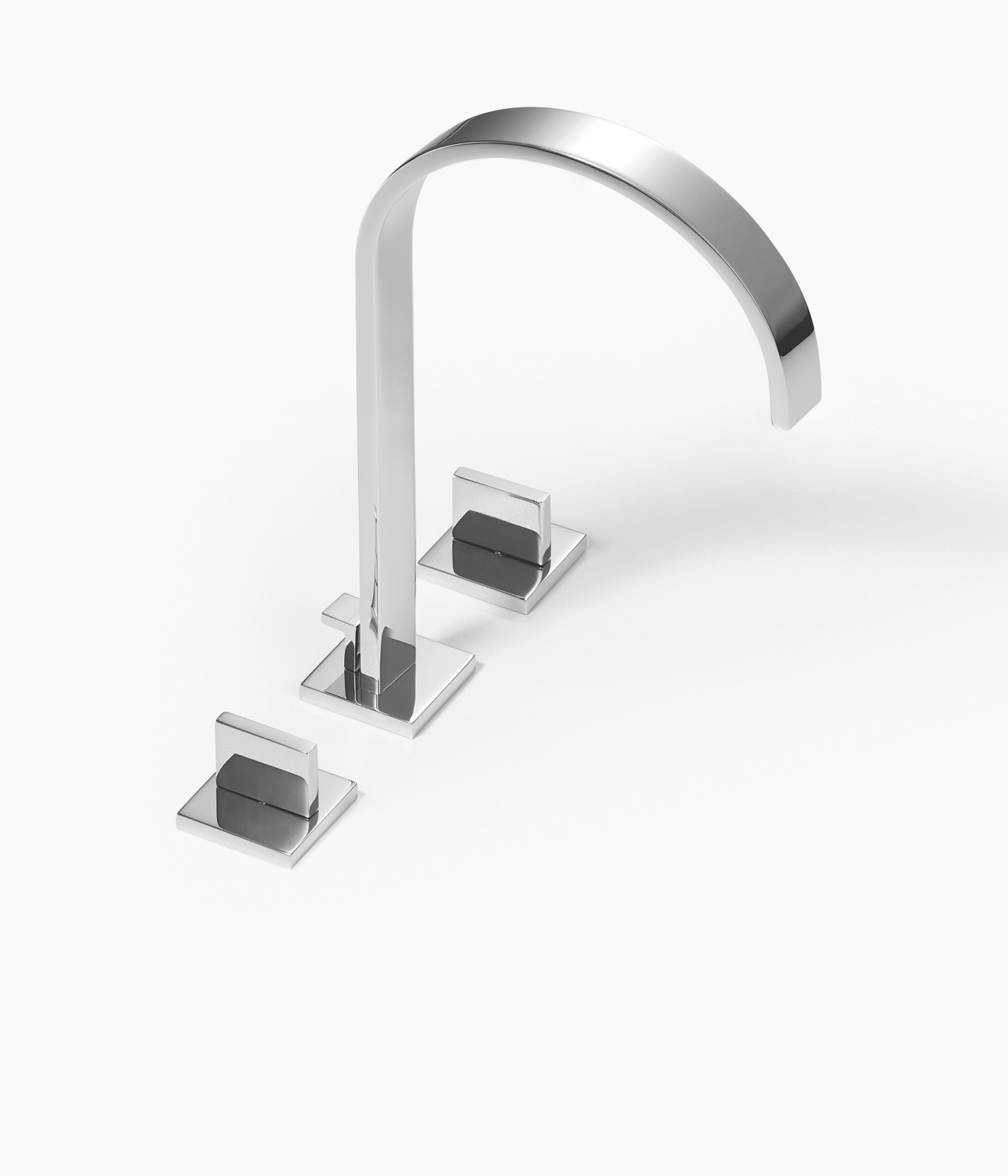Three-hole basin mixer with raised spout with pop-up waste - platinum