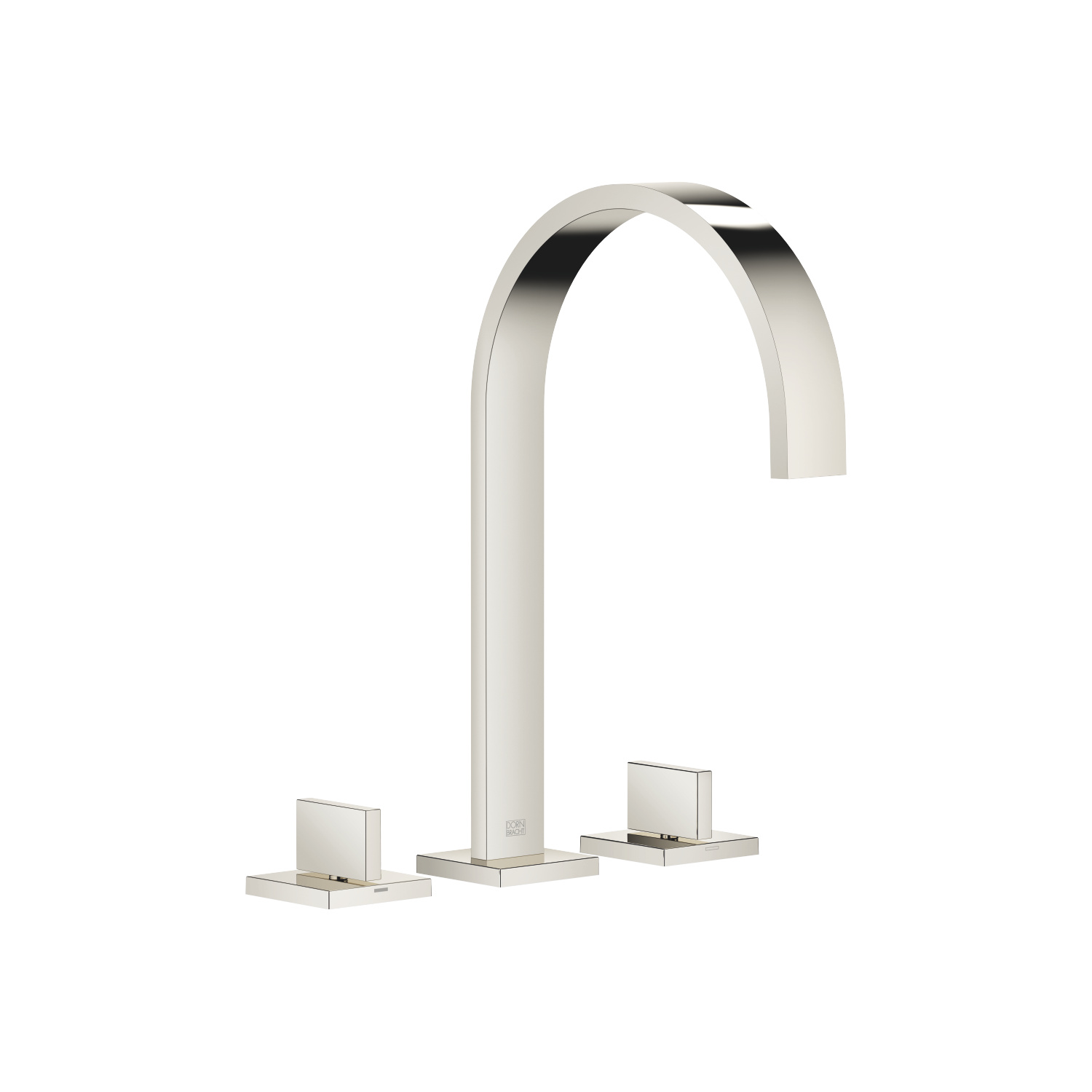 Three-hole basin mixer without pop-up waste - platinum
