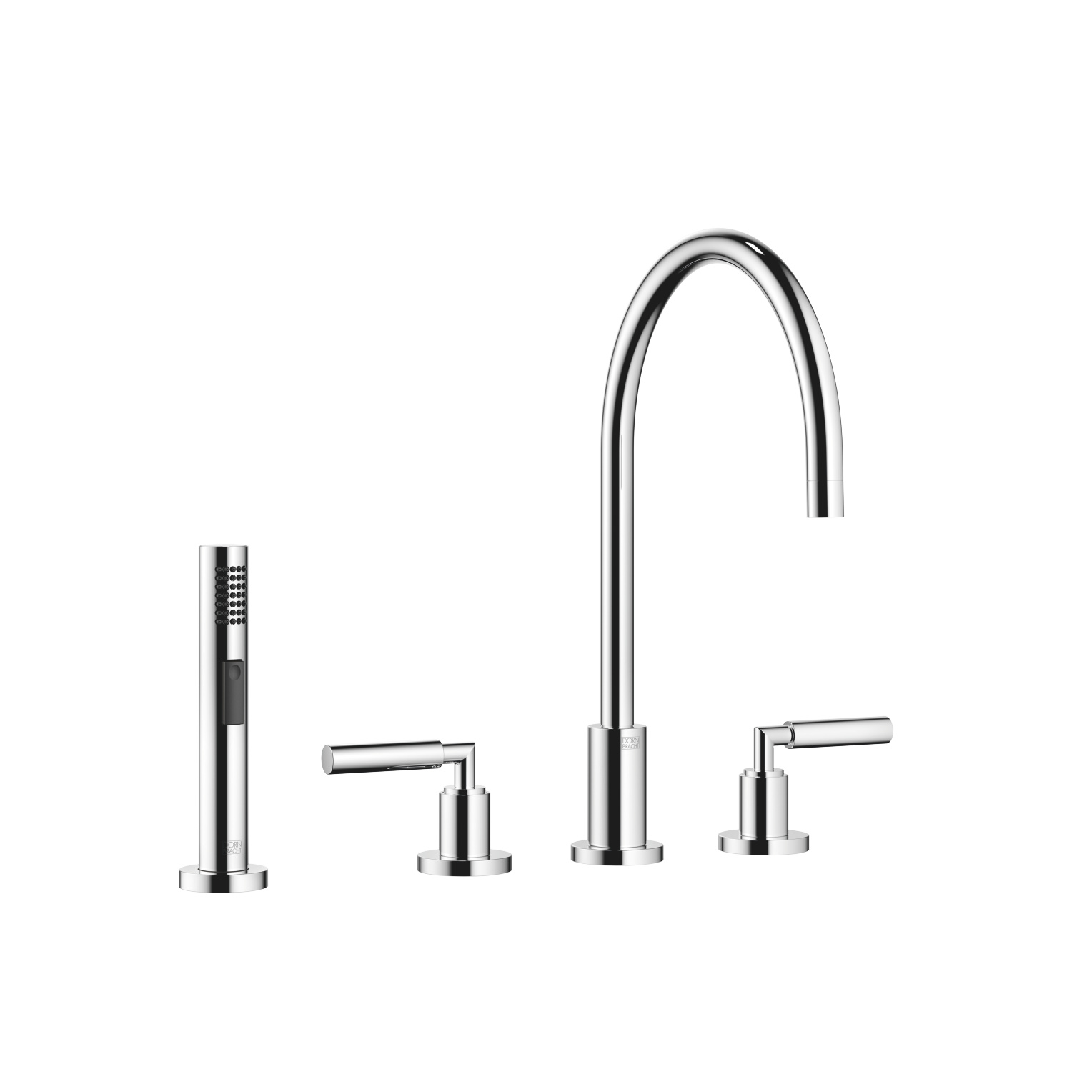 Three-hole mixer with rinsing spray set - polished chrome