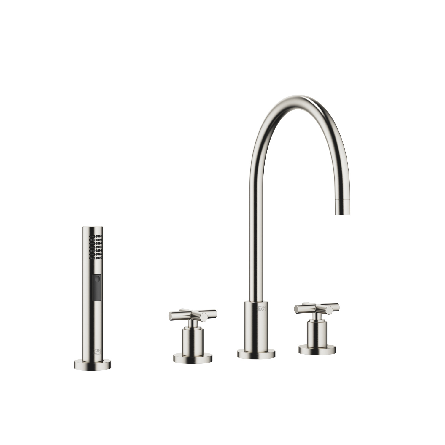 Three-hole mixer with rinsing spray set - platinum matt