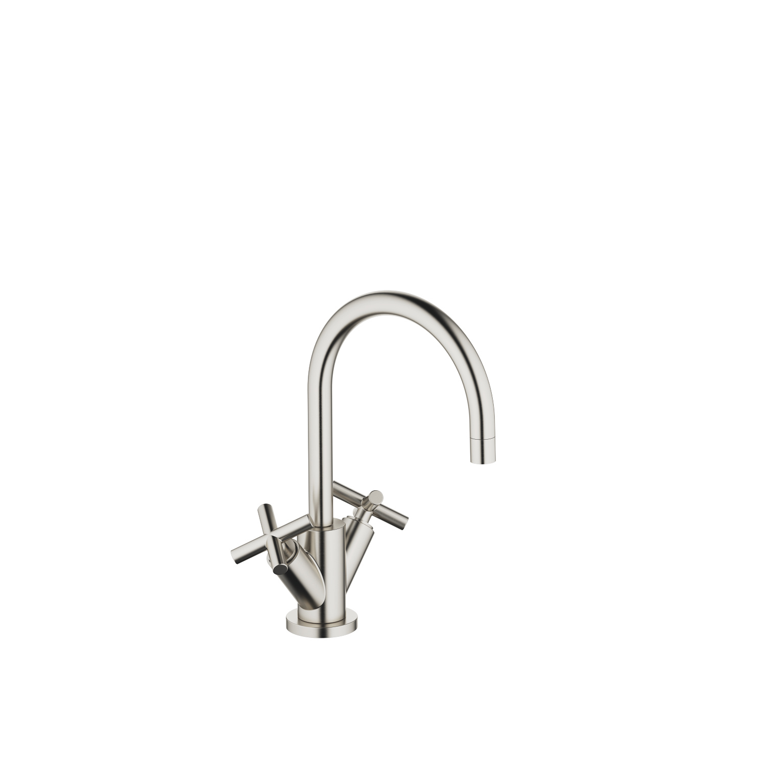 Single-hole basin mixer with pop-up waste - platinum matt