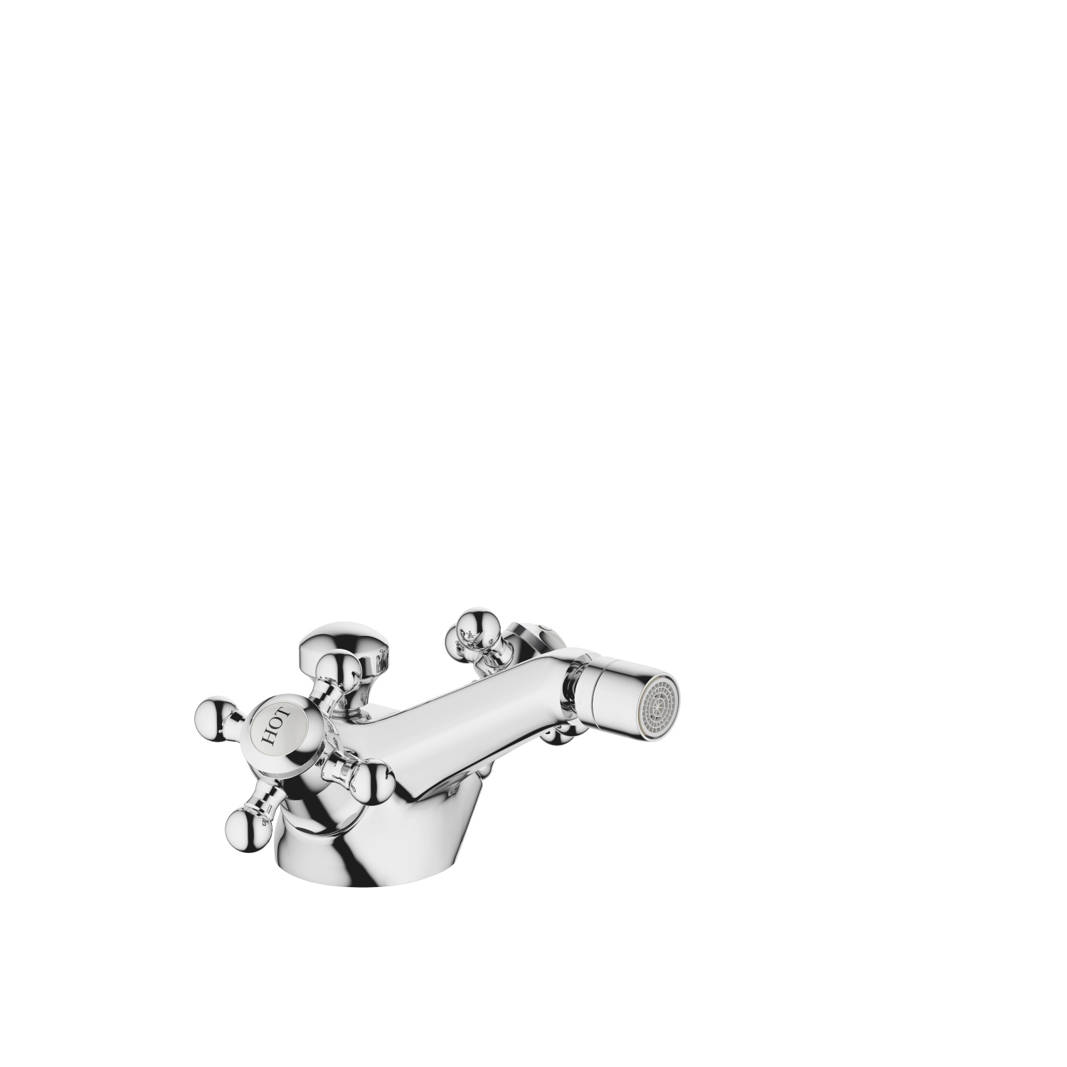 Single-hole bidet mixer with pop-up waste - polished chrome