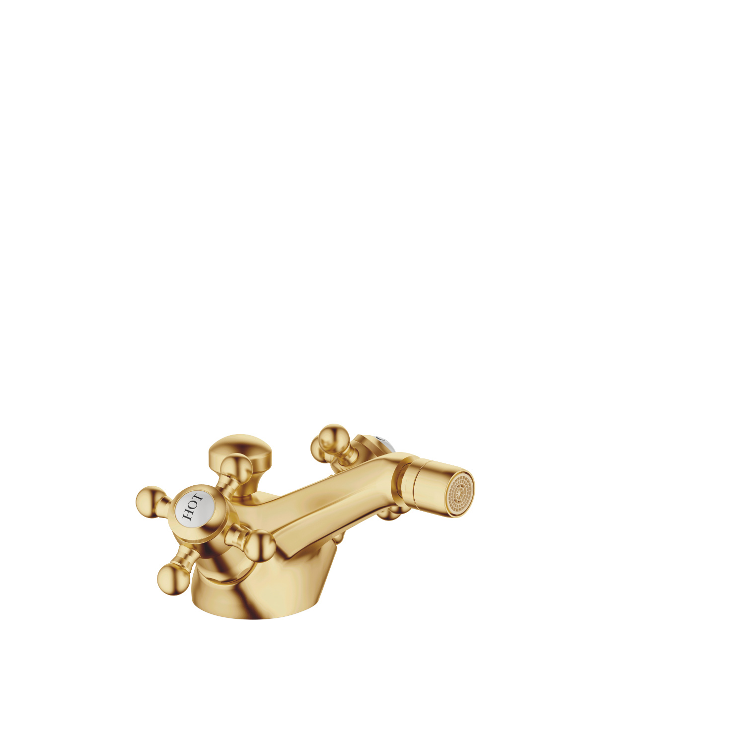 Single-hole bidet mixer with pop-up waste - brushed Durabrass