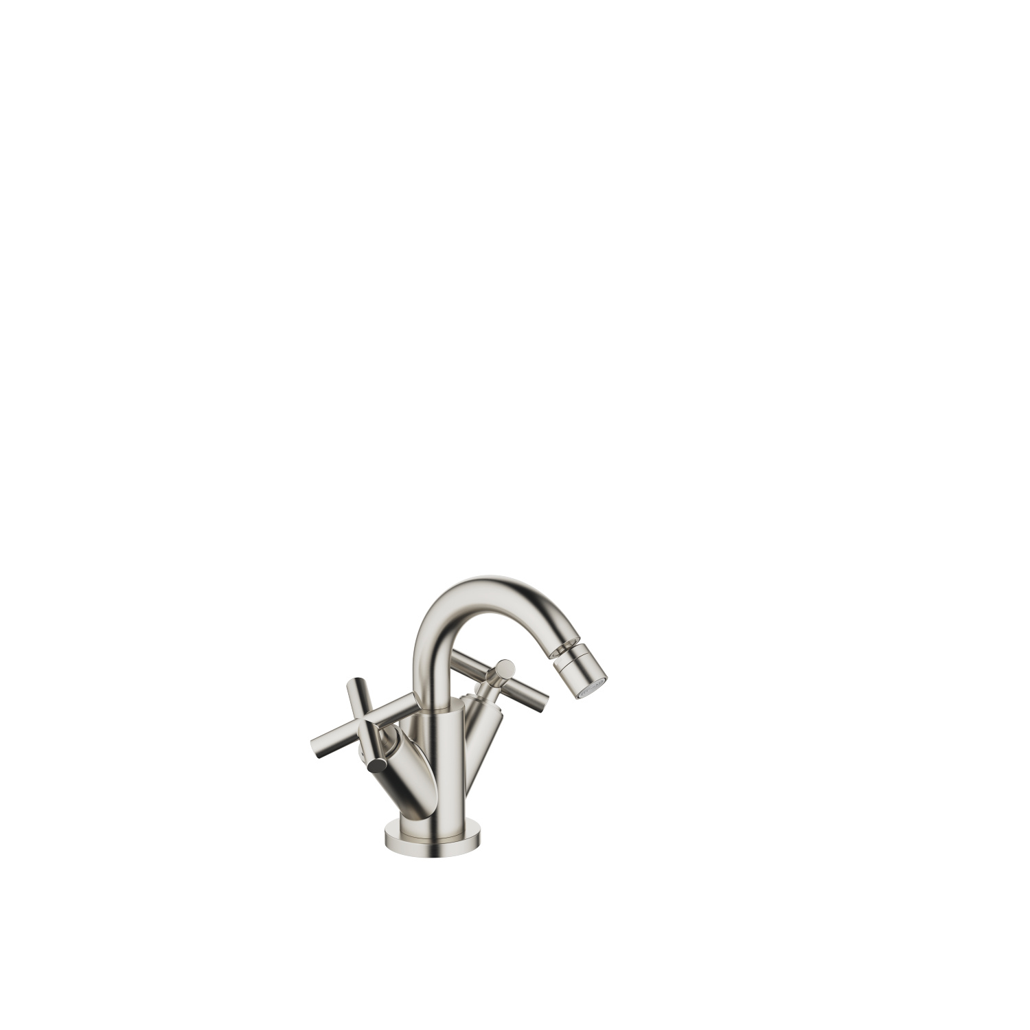 Single-hole bidet mixer with pop-up waste - platinum matt