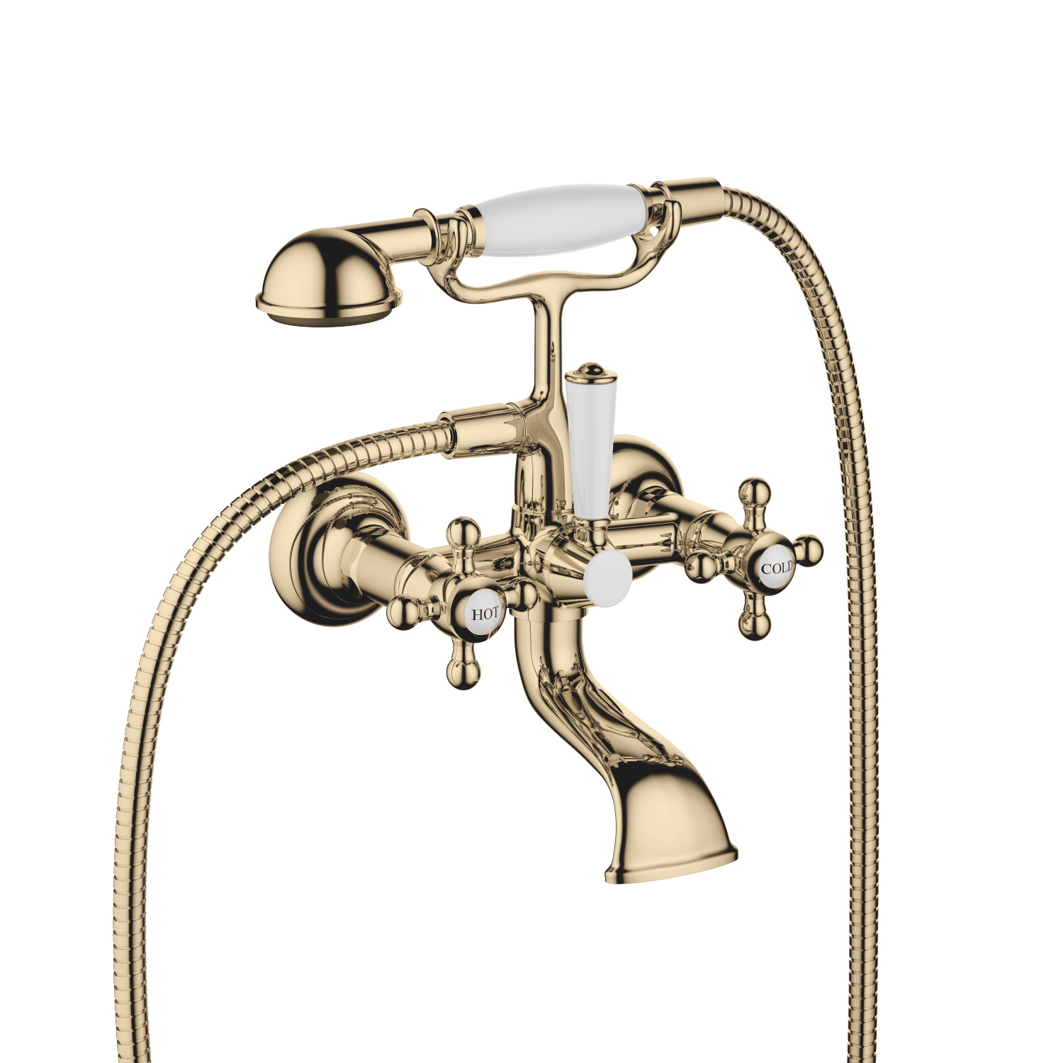 Bath mixer for wall mounting with hand shower set - Durabrass