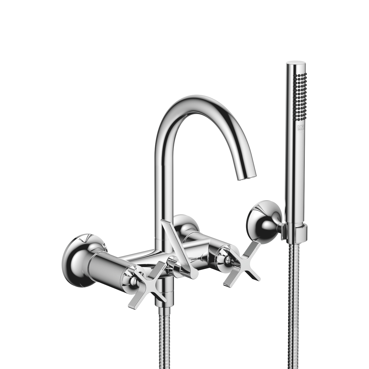 Bath mixer for wall mounting with hand shower set - polished chrome