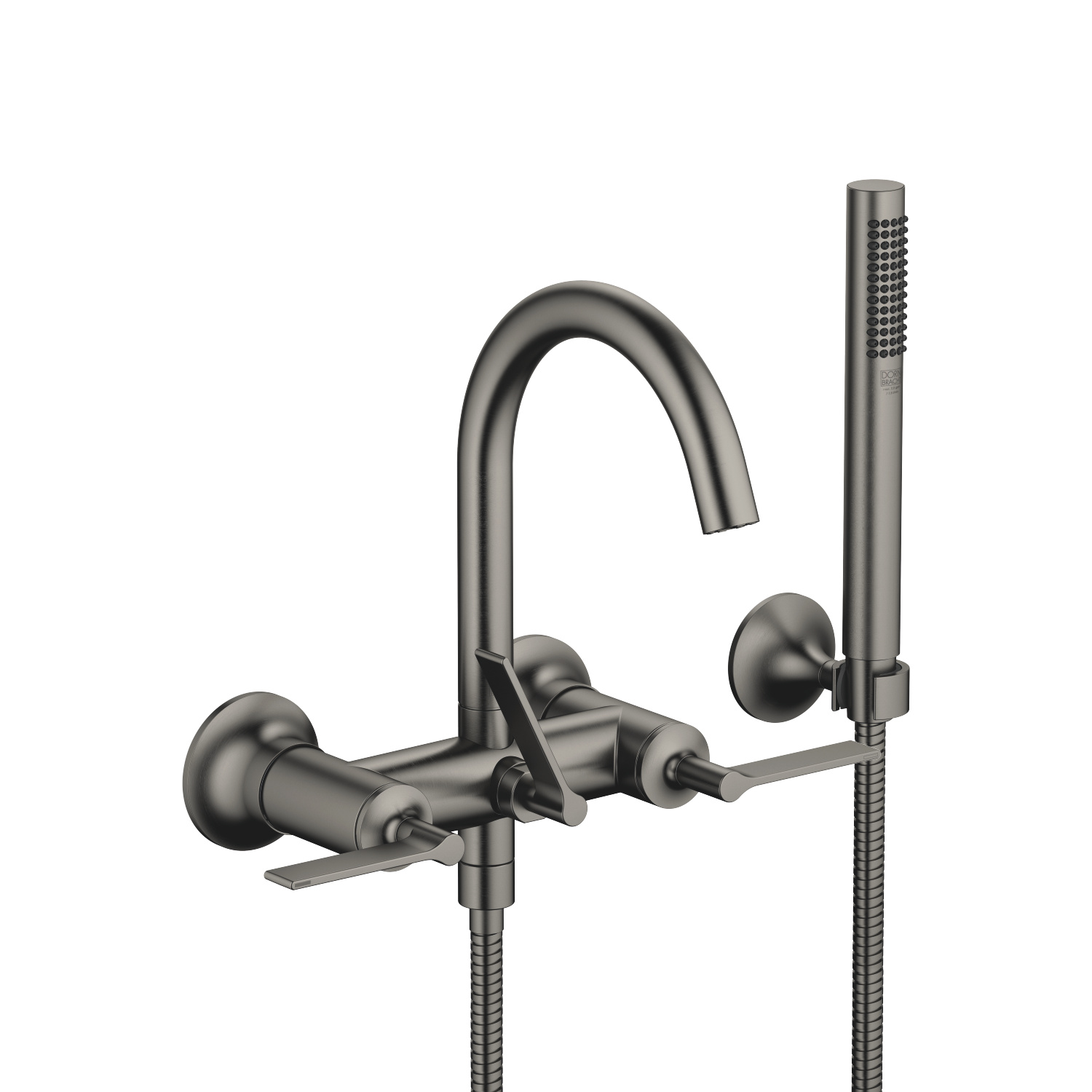 Tub mixer for wall-mounted installation with hand shower set - Dark Platinum matte - 25 133 819-99