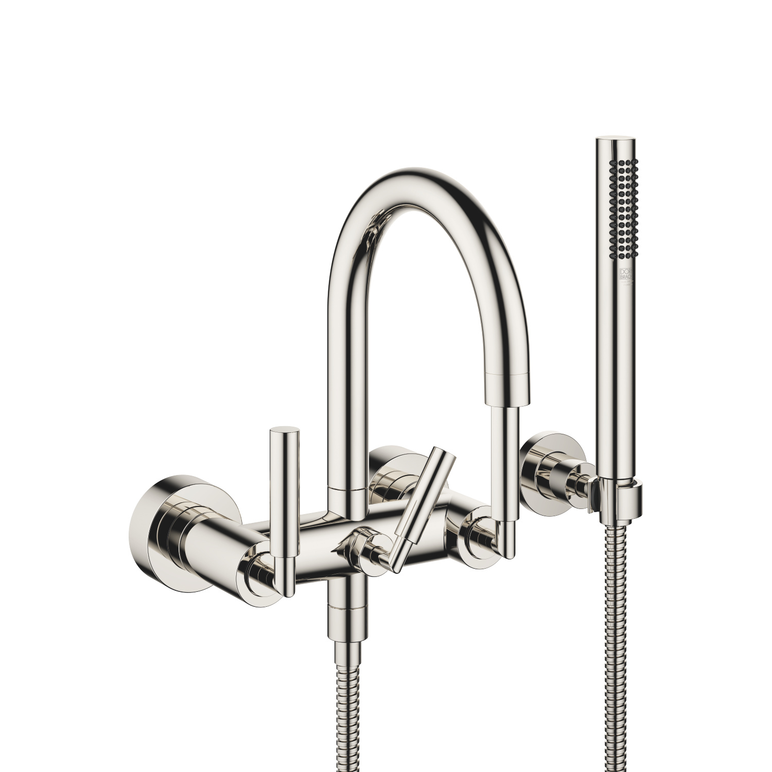 Tub mixer for wall-mounted installation with hand shower set - platinum