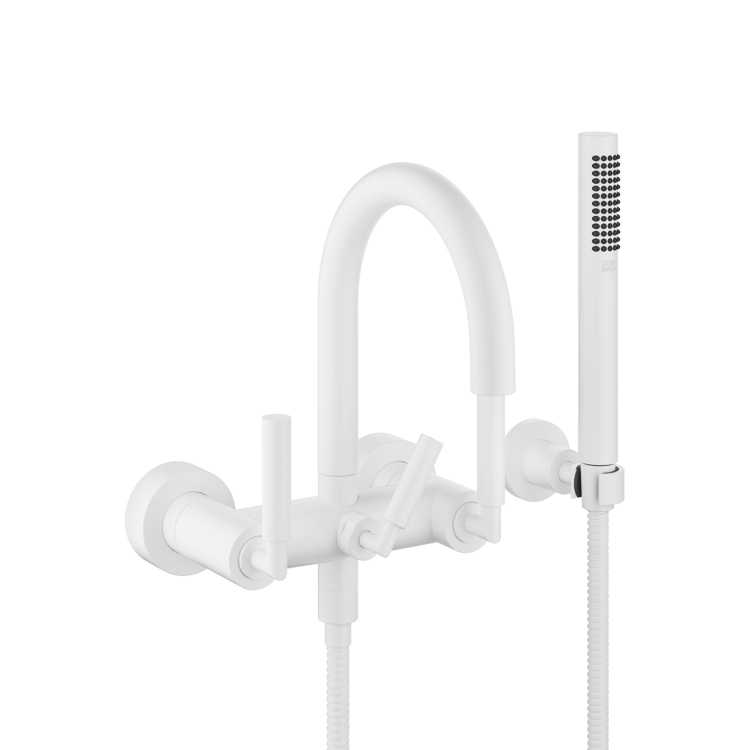 Bath mixer for wall mounting with hand shower set - matt white