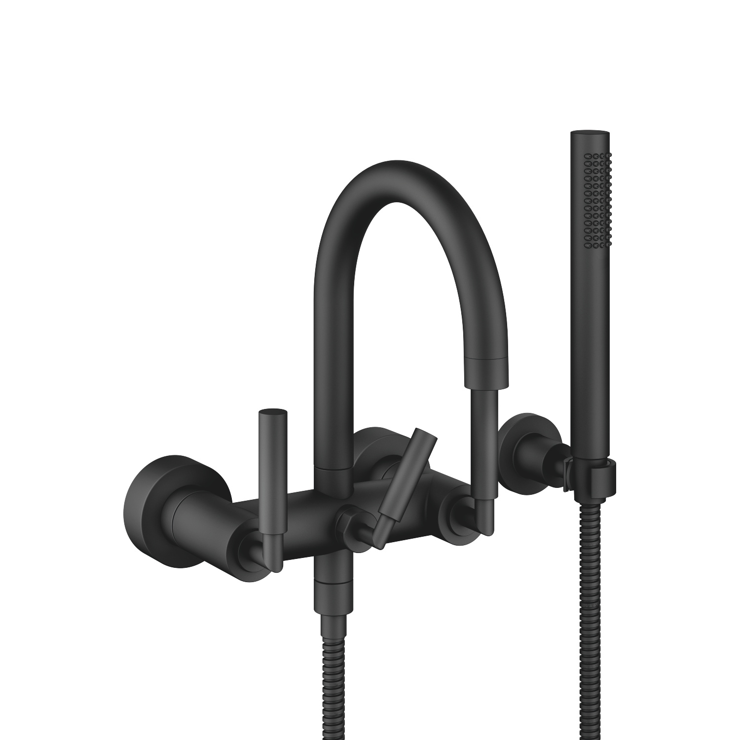 Tub mixer for wall-mounted installation with hand shower set - black matte