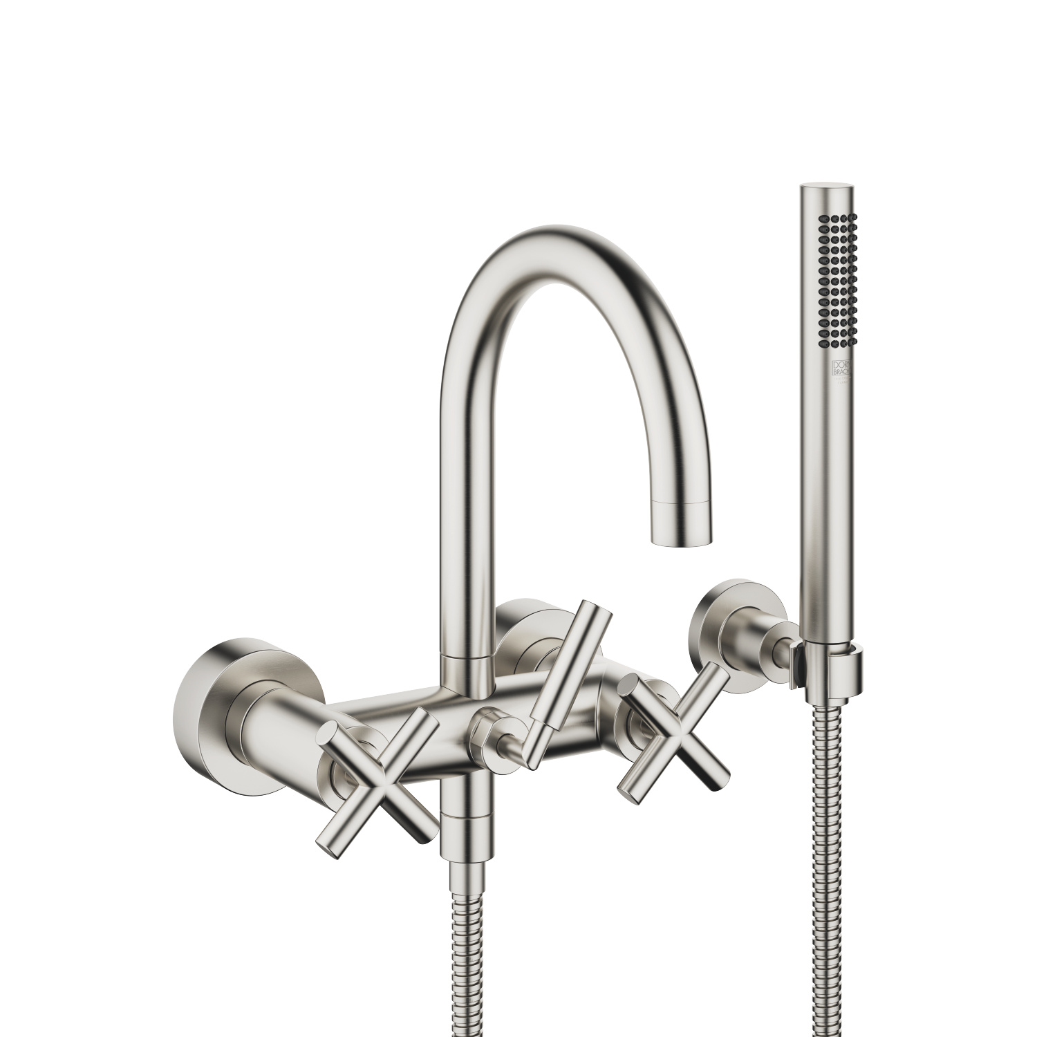 Bath mixer for wall mounting with hand shower set - platinum matt