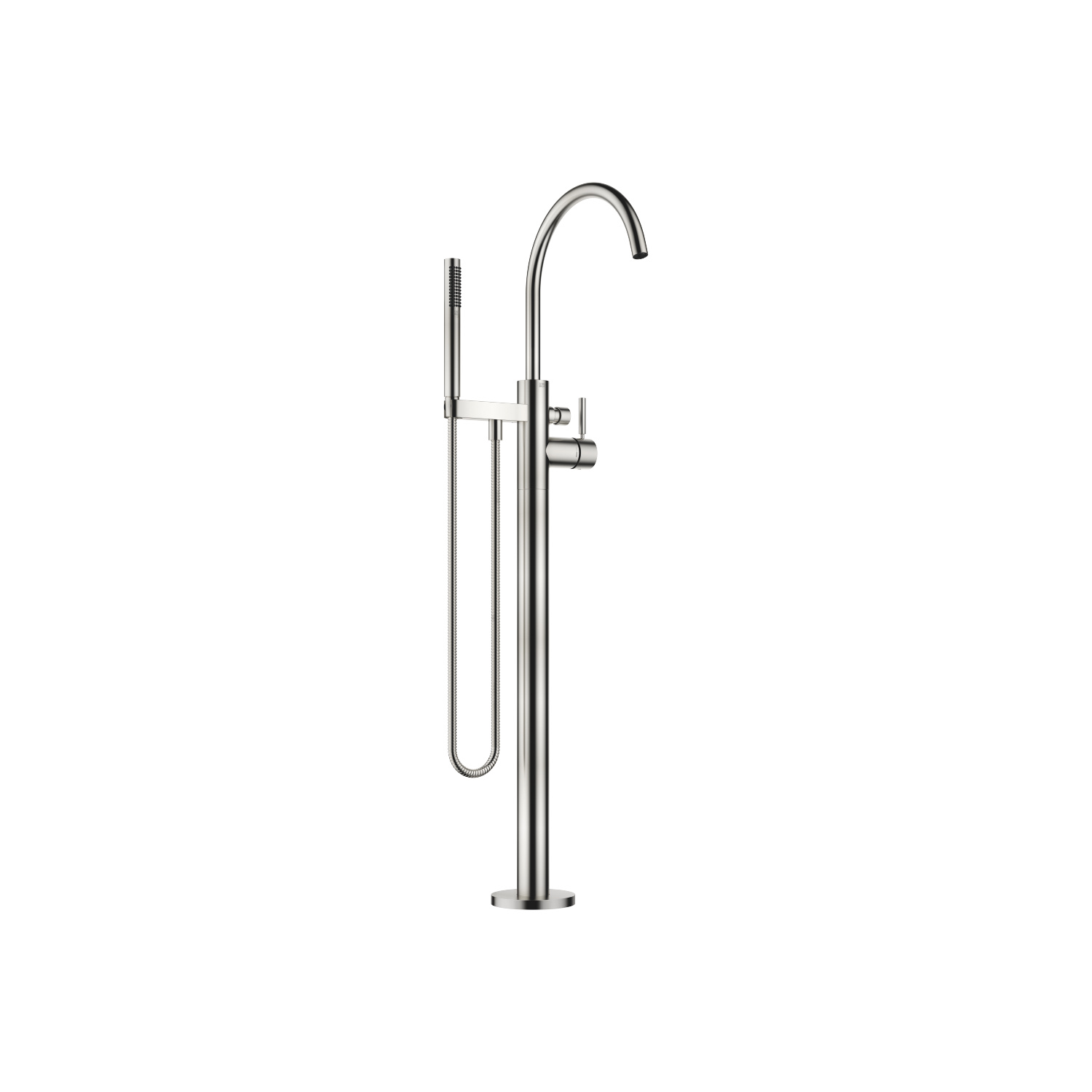 Single-lever bath mixer with stand pipe for free-standing assembly with hand shower set - platinum matt