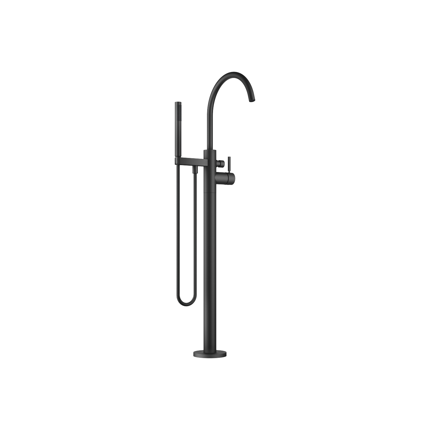 Single-lever bath mixer with stand pipe for free-standing assembly with hand shower set - matt black