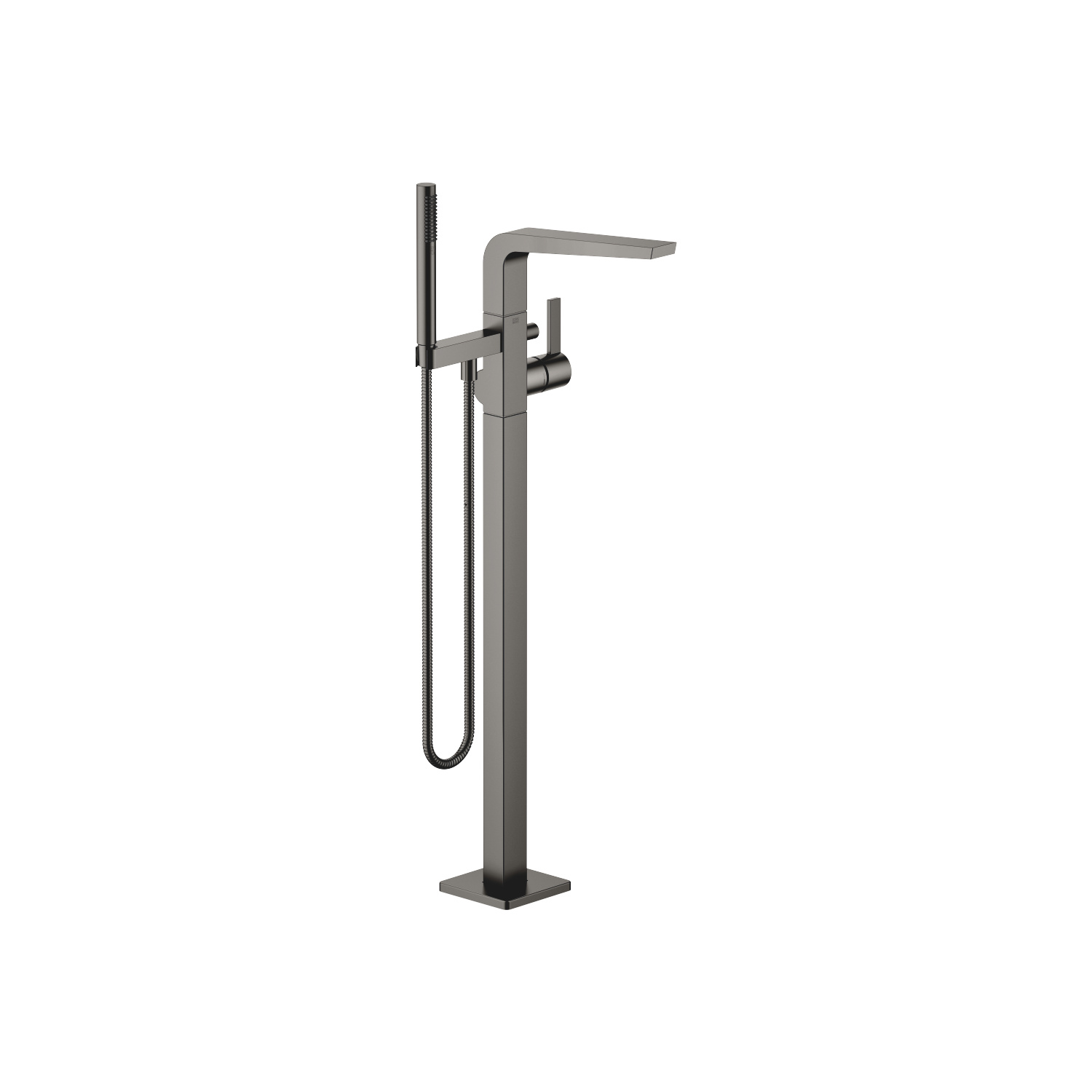Single-lever bath mixer with stand pipe for free-standing assembly with hand shower set - Dark Platinum matt
