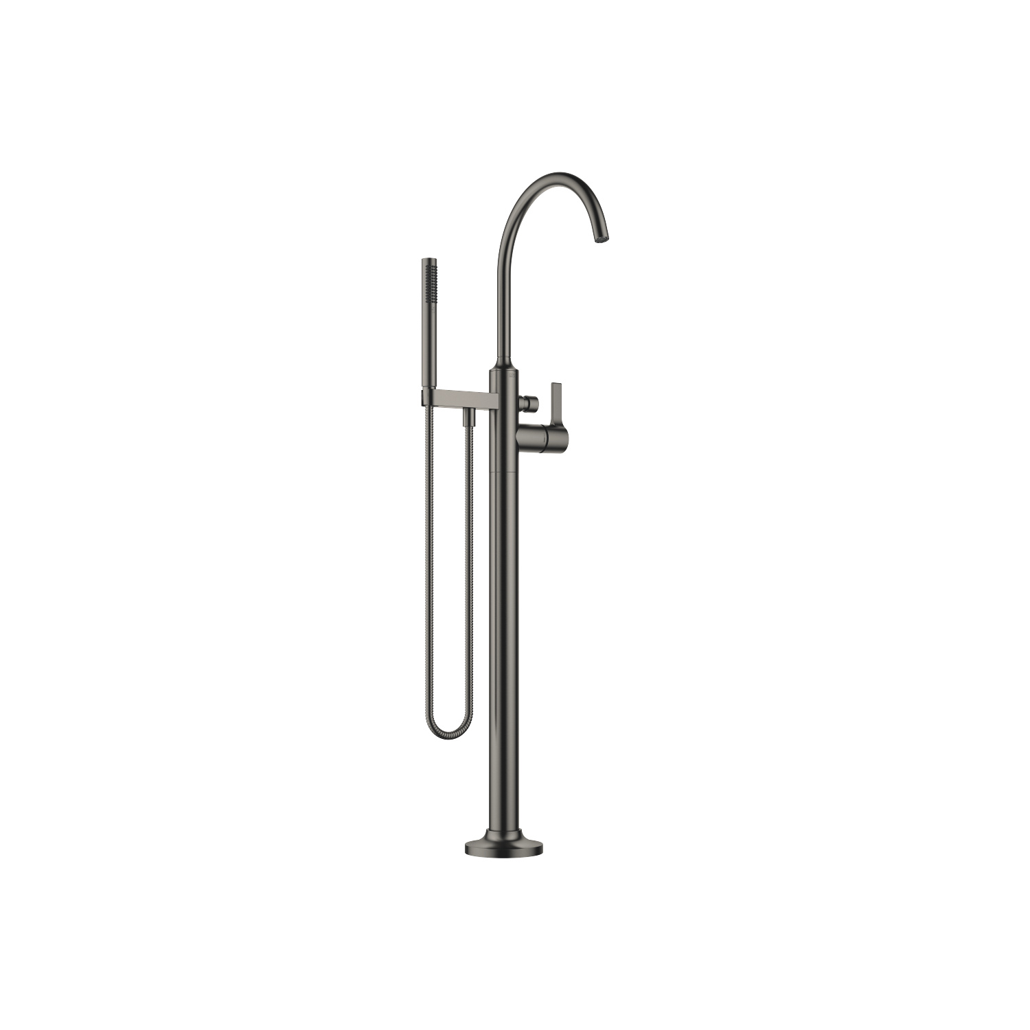 Single-lever bath mixer with stand pipe for free-standing assembly with hand shower set - Dark Platinum matt - 25 863 809-99
