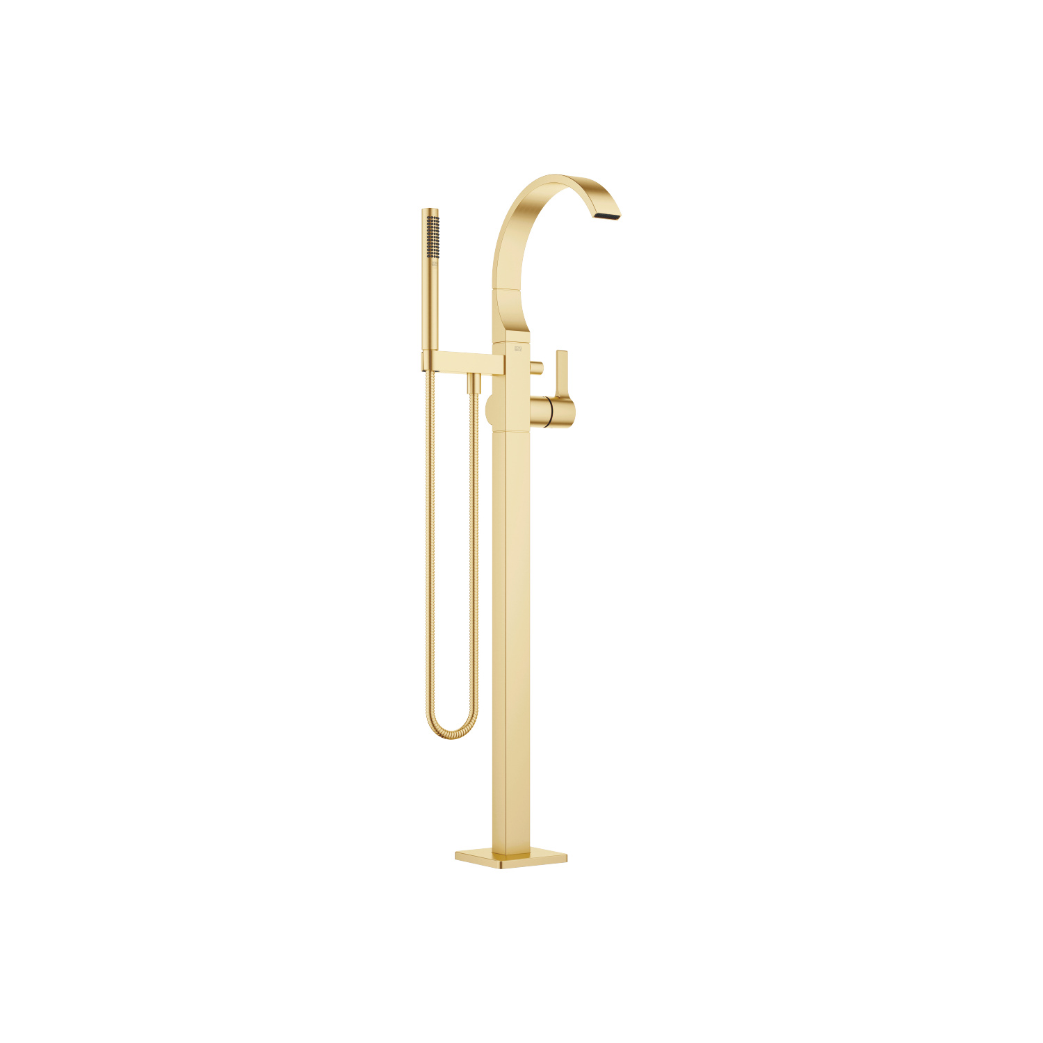 Single-lever bath mixer with stand pipe for free-standing assembly with hand shower set - brushed Durabrass