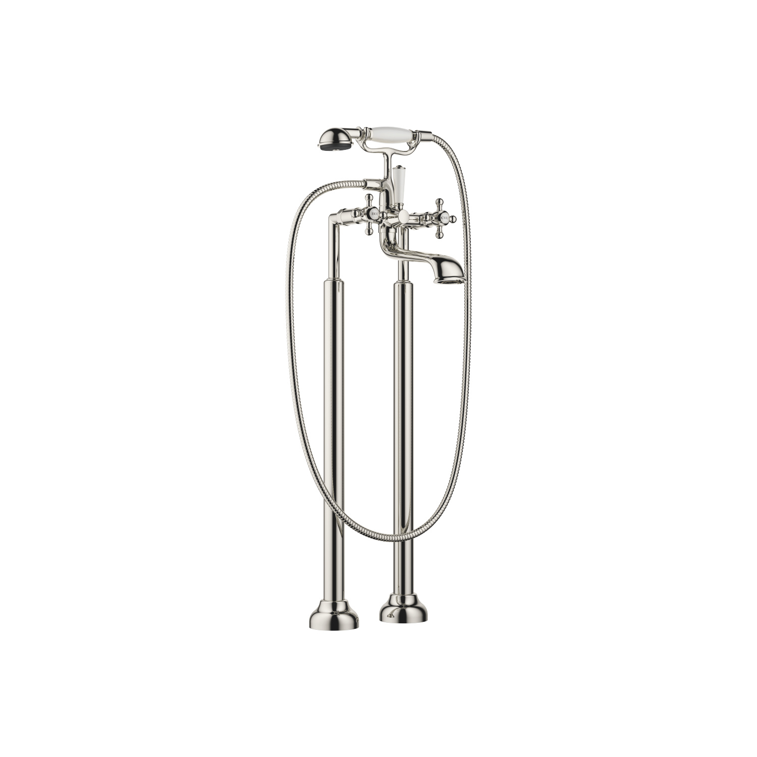 Two-hole bath mixer for free-standing assembly with hand shower set - platinum