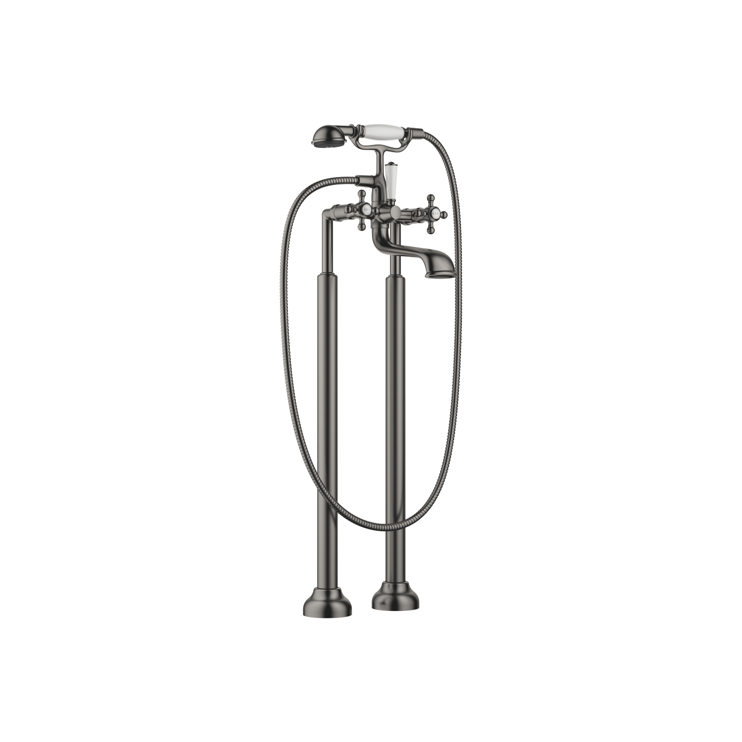 Two-hole bath mixer for free-standing assembly with hand shower set - Dark Platinum matt
