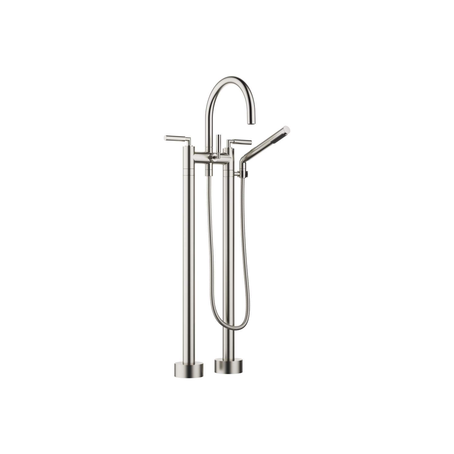Two-hole bath mixer for free-standing assembly with hand shower set - platinum matt