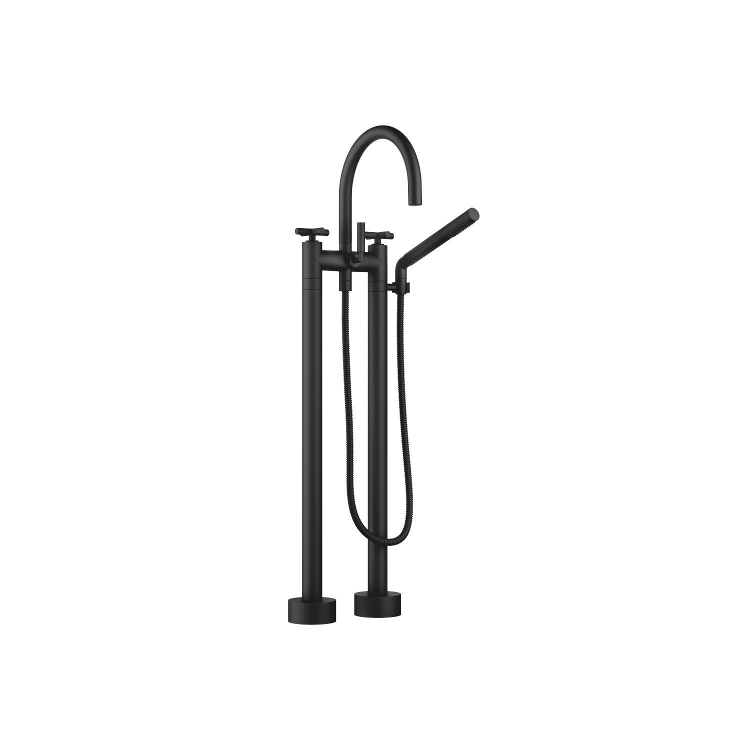 Two-hole bath mixer for free-standing assembly with hand shower set - matt black