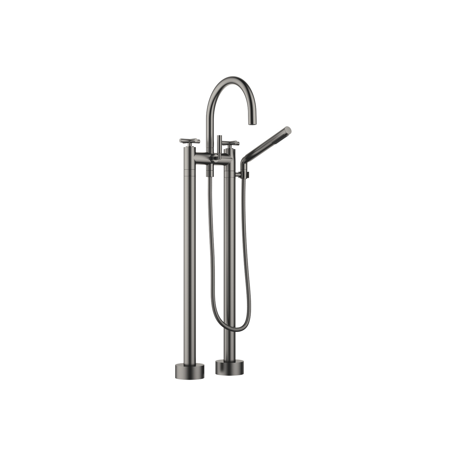 Two-hole bath mixer for free-standing assembly with hand shower set - Dark Platinum matt - 25 943 892-99