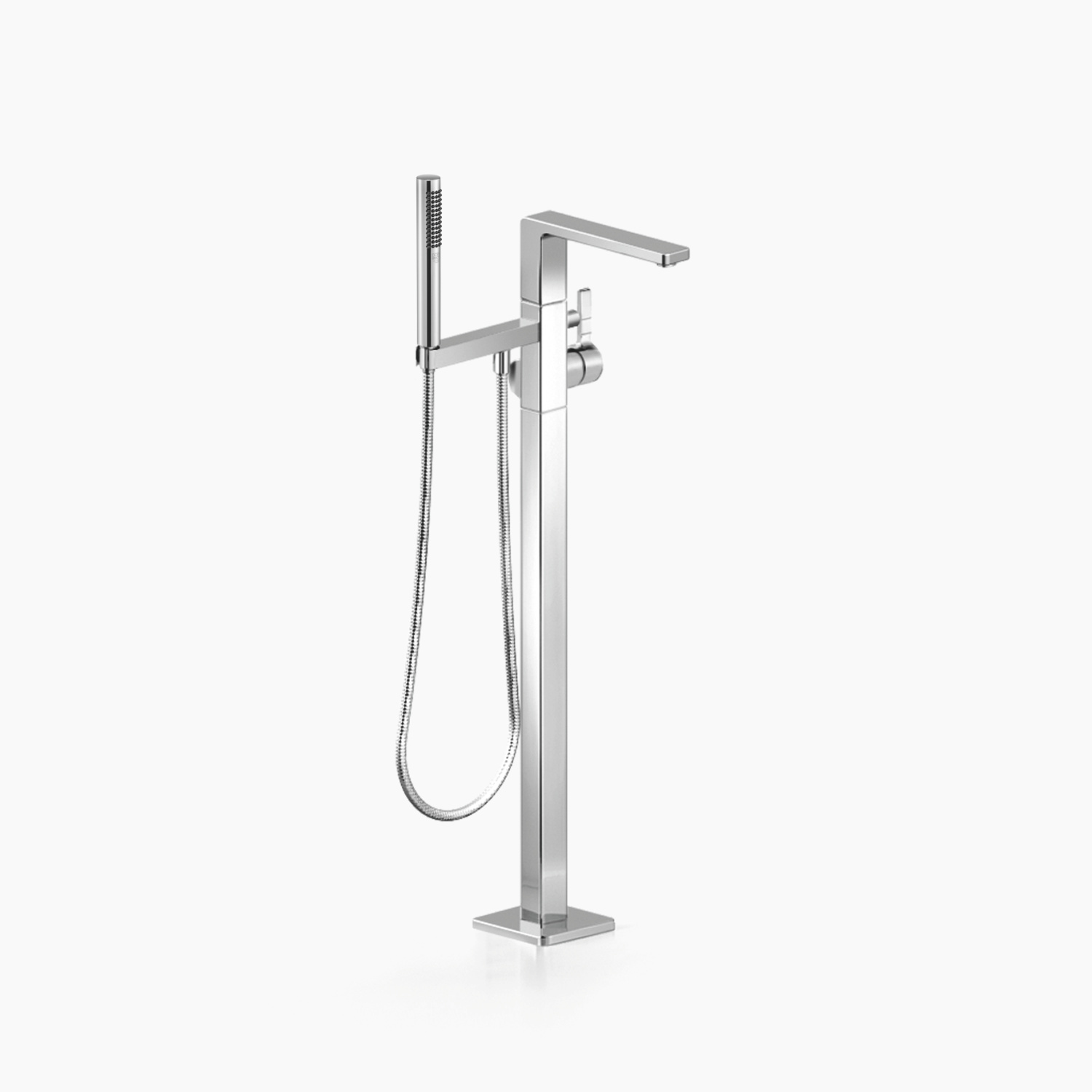 Single-lever bath mixer with stand pipe for free-standing assembly with hand shower set - polished chrome