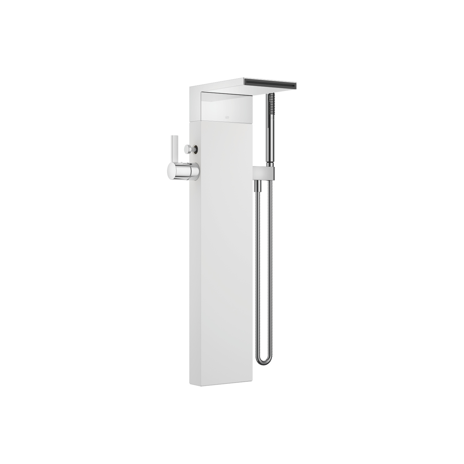 Single-lever bath mixer with cascade spout for free-standing assembly with hand shower set - polished chrome