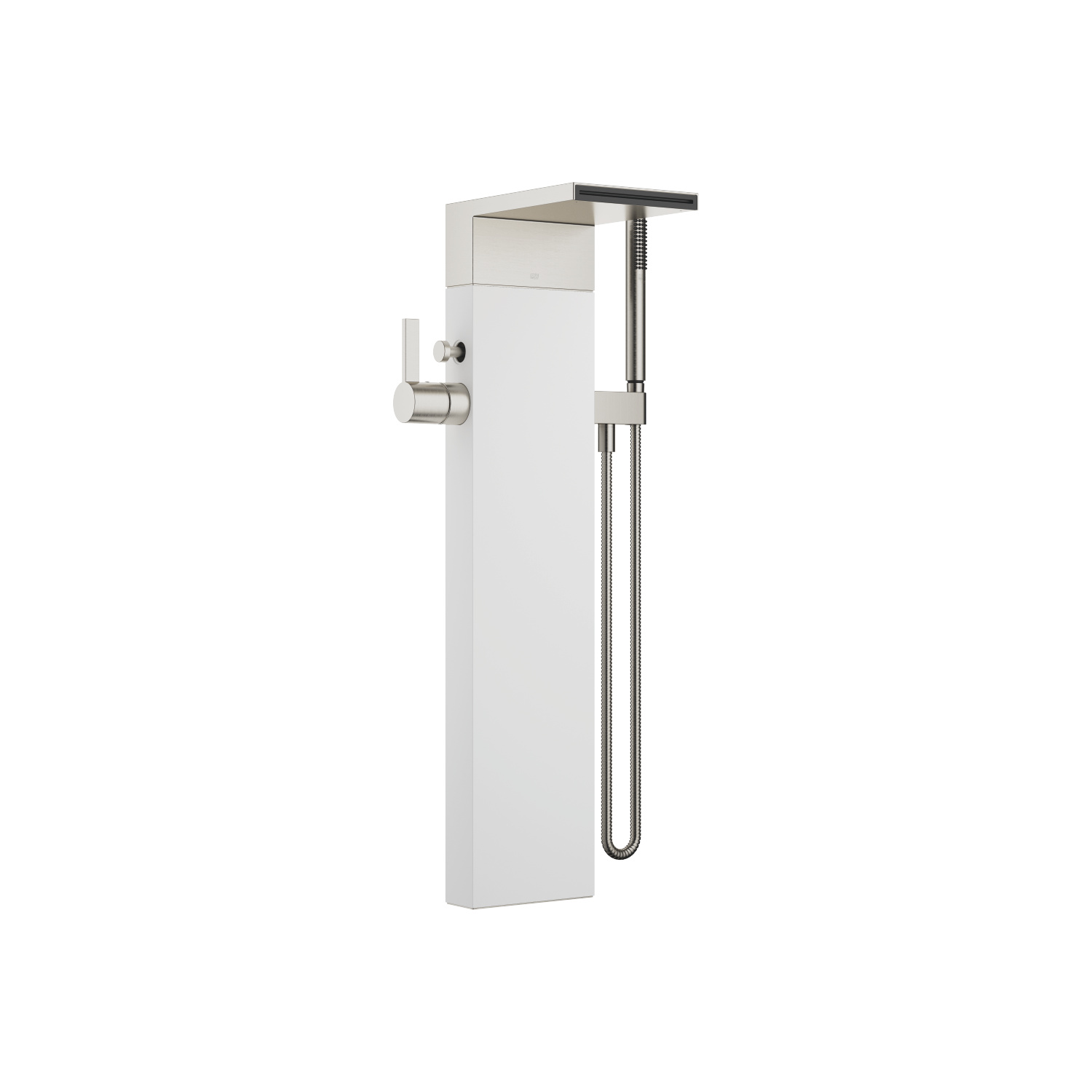 Single-lever bath mixer with cascade spout for free-standing assembly with hand shower set - platinum matt