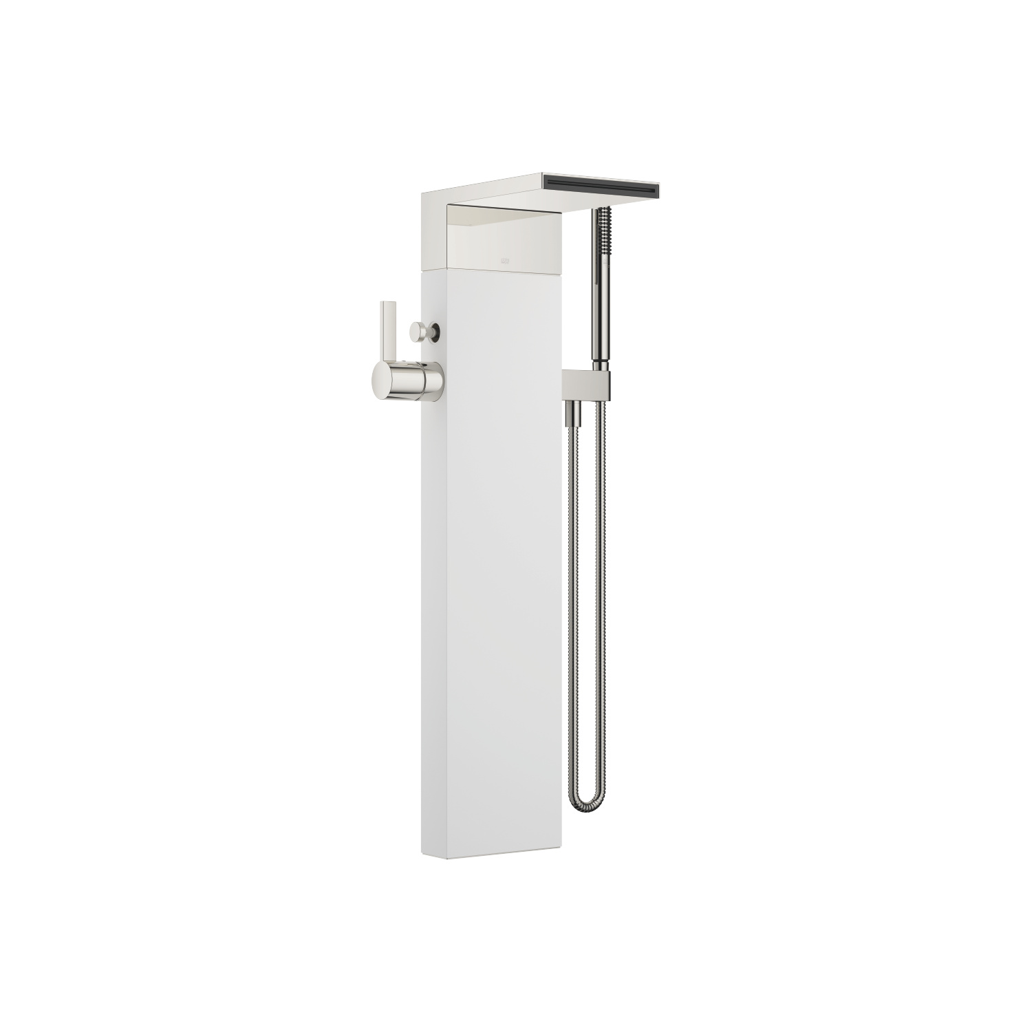 Single-lever bath mixer with cascade spout for free-standing assembly with hand shower set - platinum