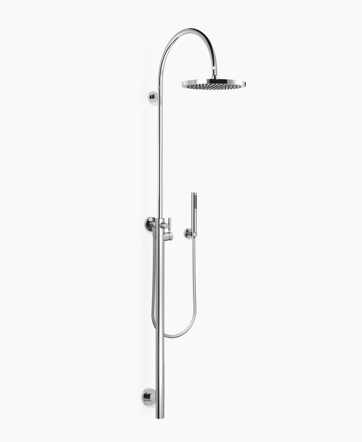 Shower system with single-lever shower mixer for wall mounting with fixed and hand shower - polished chrome