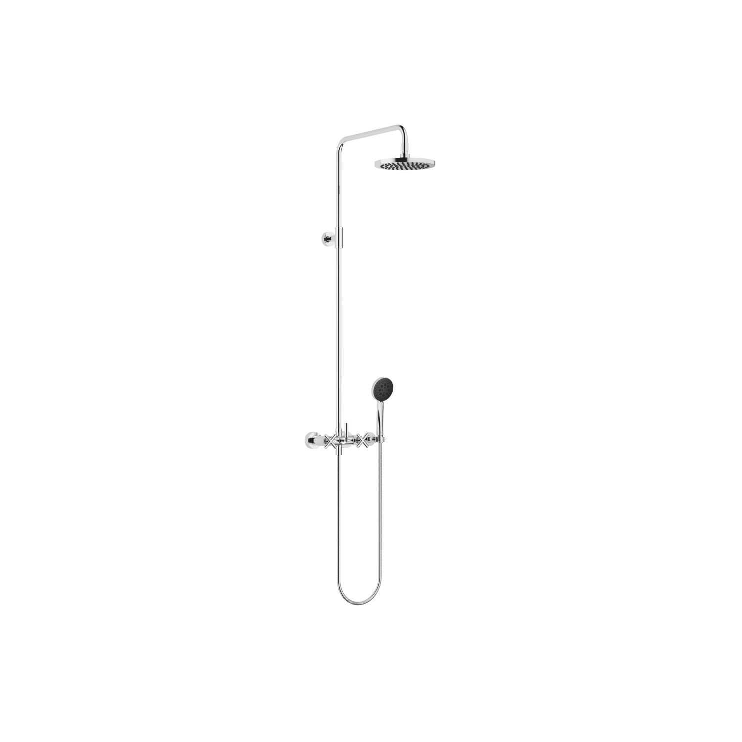 Shower mixer for wall mounting with fixed and hand shower - polished chrome
