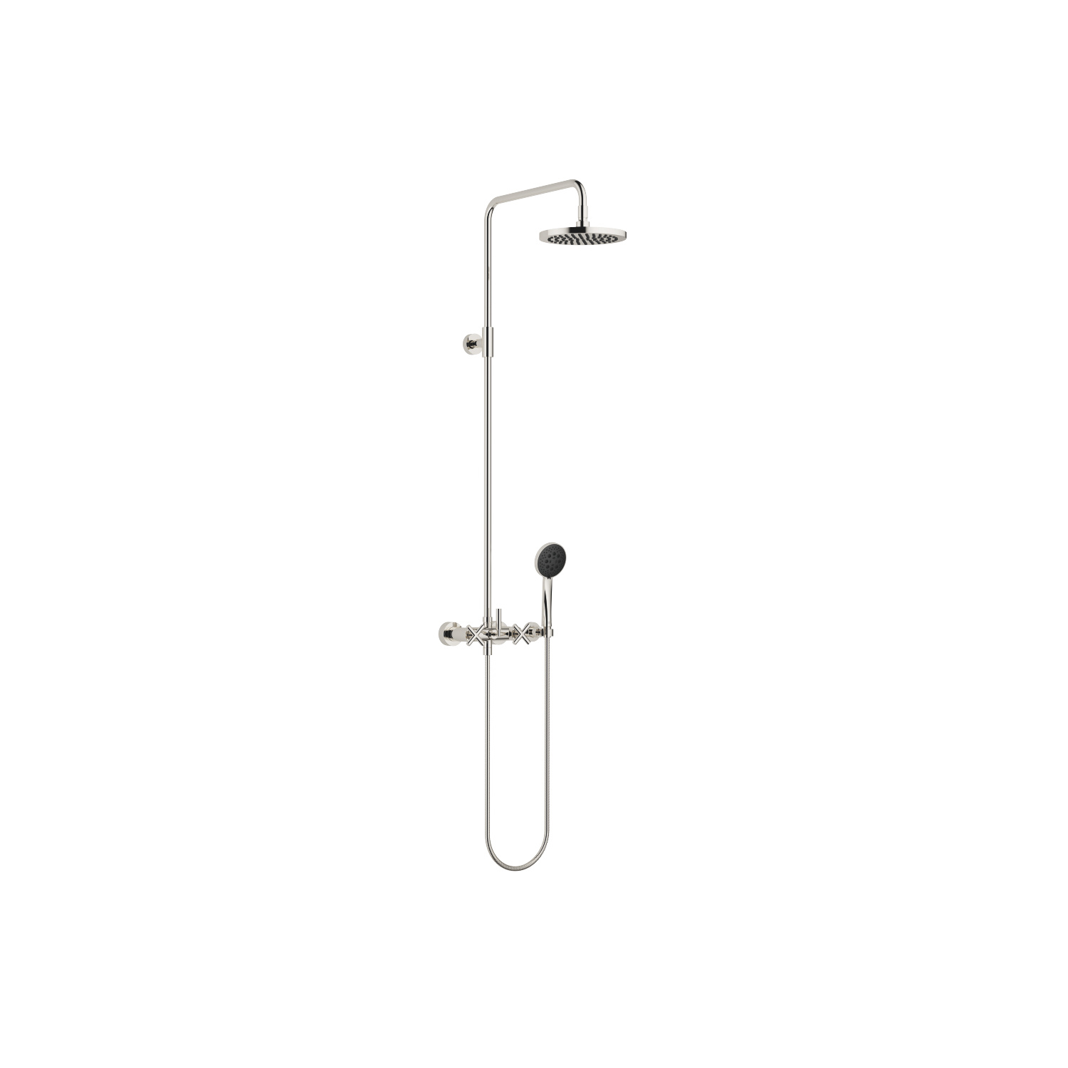 Shower mixer for wall mounting with fixed and hand shower - platinum