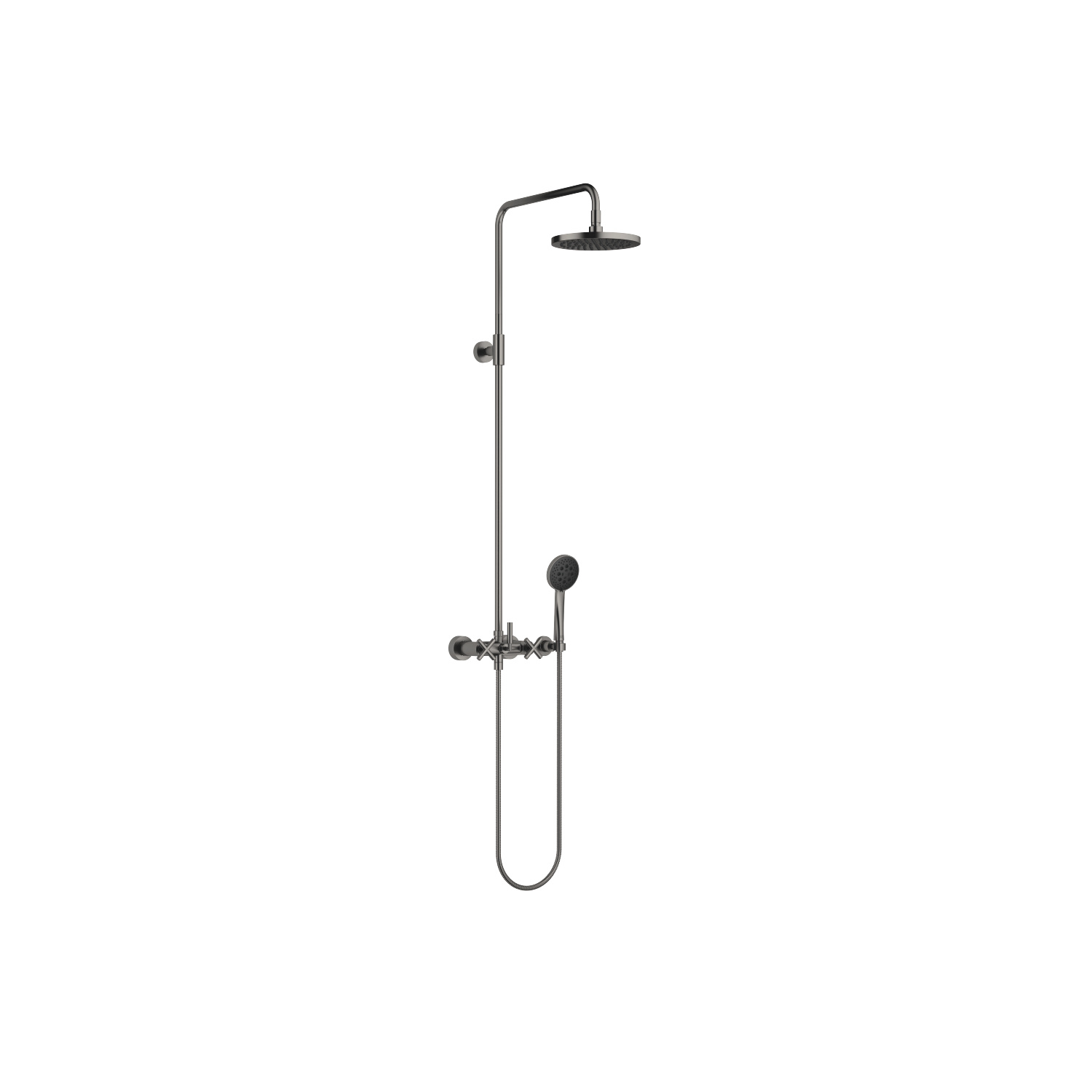 Shower mixer for wall mounting with fixed and hand shower - Dark Platinum matt