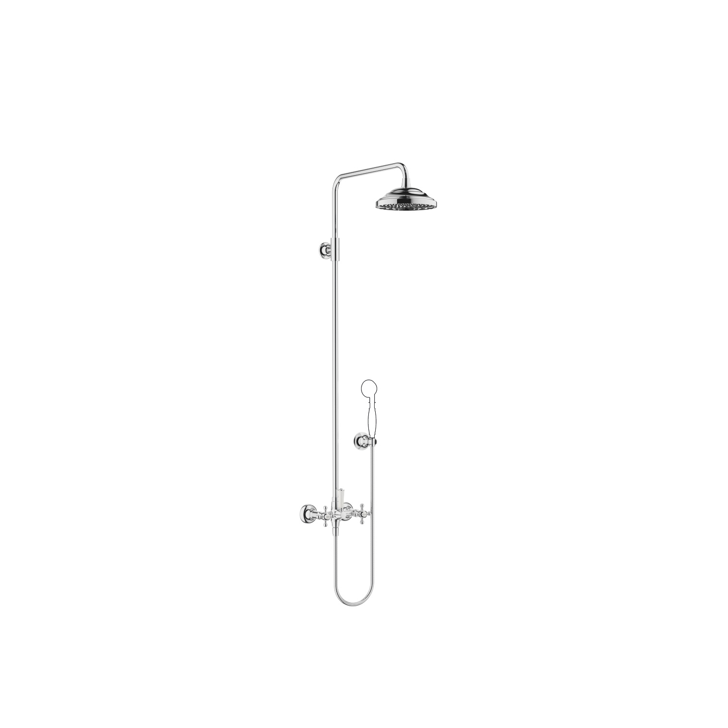 Showerpipe with shower mixer without hand shower - polished chrome