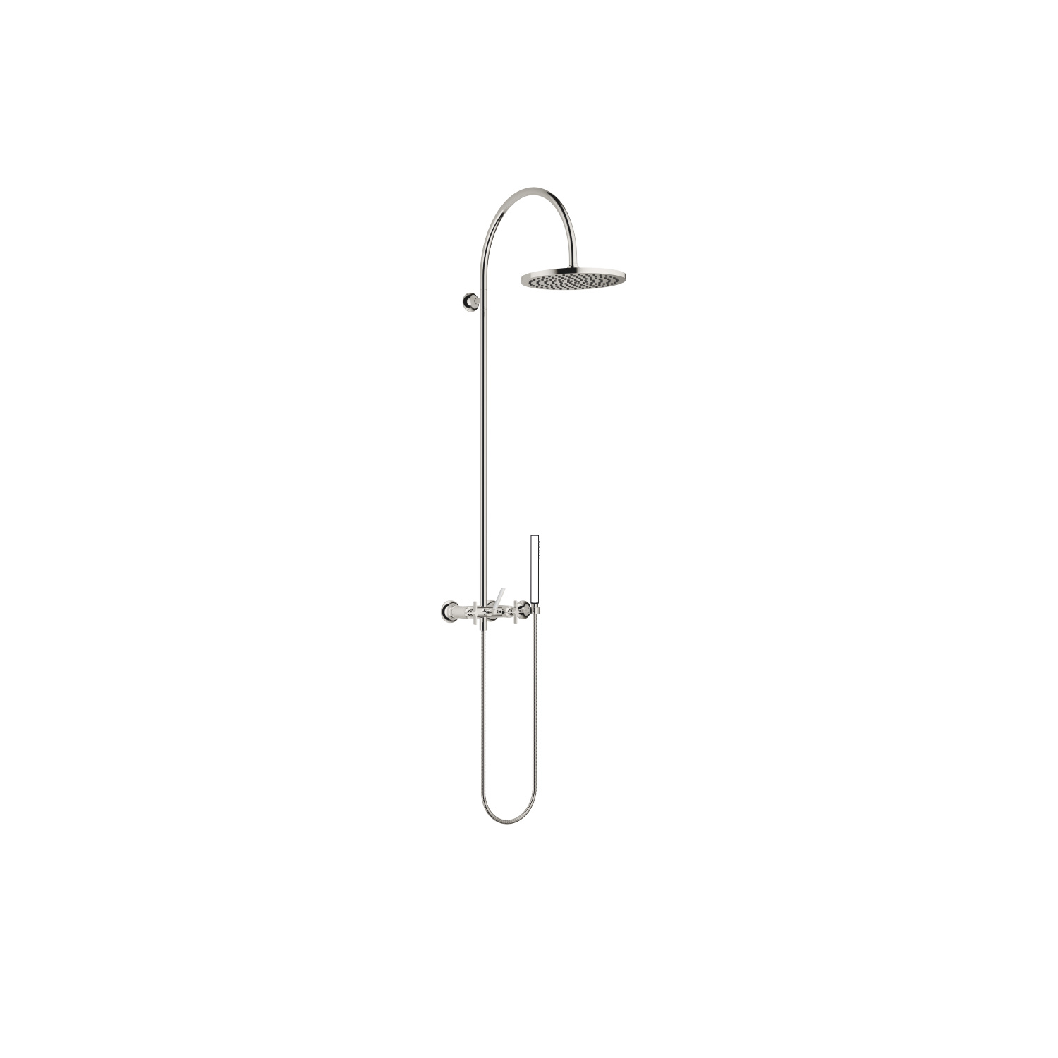 Showerpipe with shower mixer without hand shower - platinum