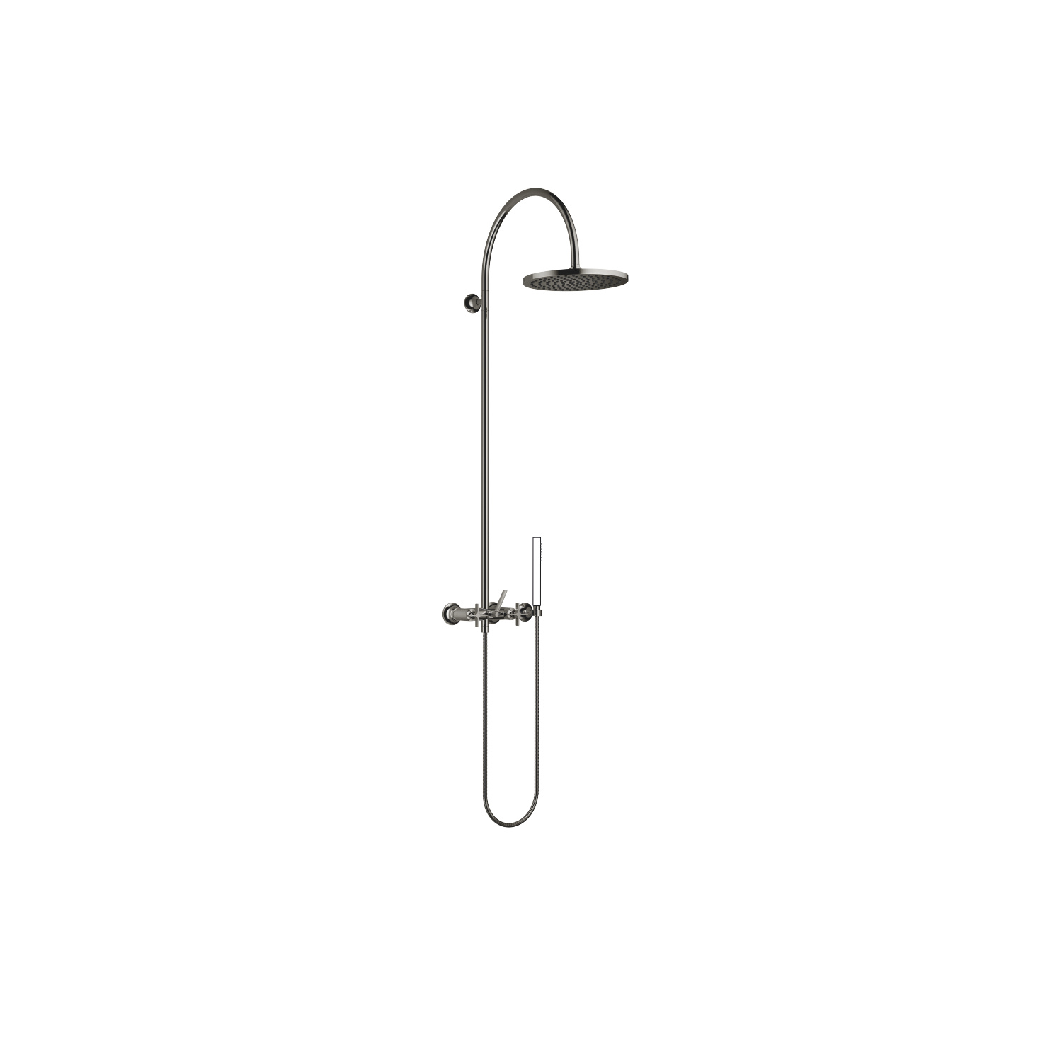 Exposed shower set with shower mixer without hand shower - platinum
