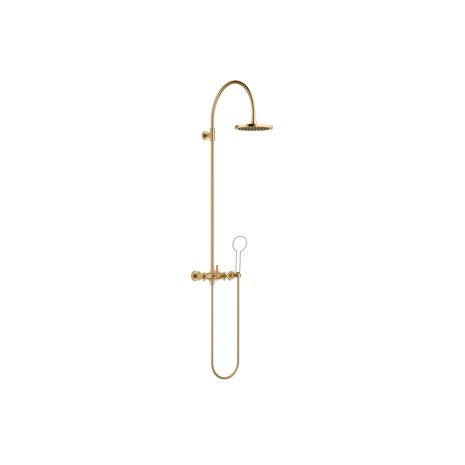 Showerpipe with shower mixer without hand shower - brushed Durabrass