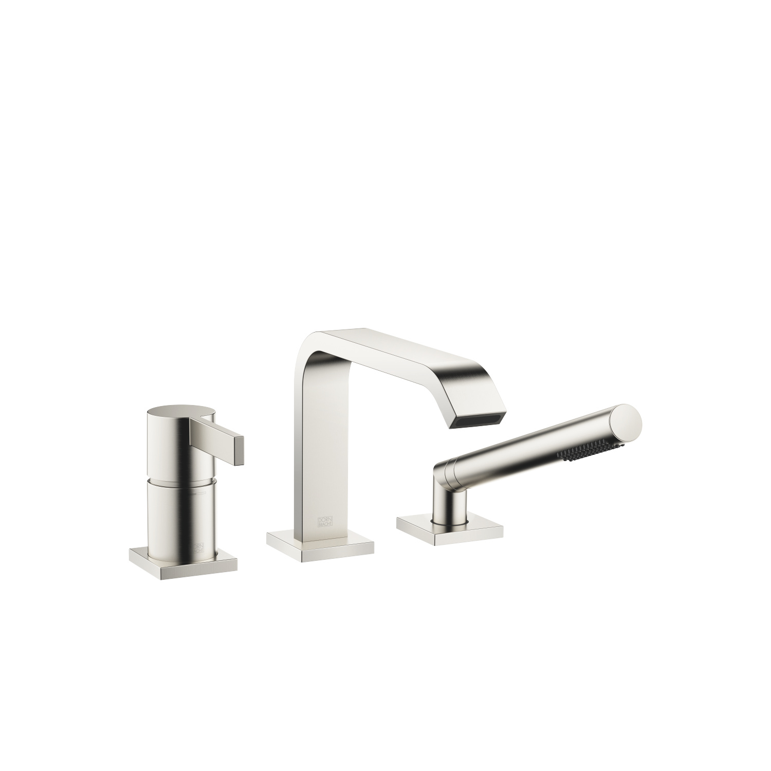 Three-hole single-lever bath mixer for bath rim or tile edge installation - platinum matt - 27 412 670-06