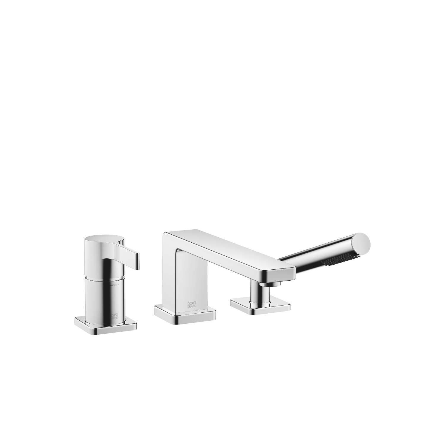 Three-hole single-lever tub mixer for deck-mounted tub installation - polished chrome