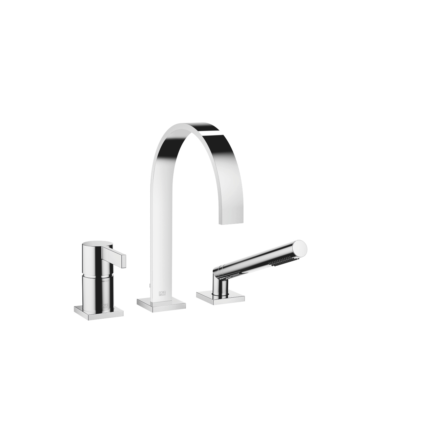 Three-hole single-lever bath mixer for bath rim or tile edge installation - polished chrome